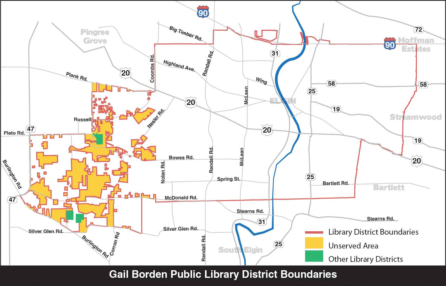 Voters in unserved areas next to the western edge of the Gail Borden Public Library District, along with all voters in the district, likely will be asked in November to decide whether those unserved areas should be annexed to the district. Those areas include an estimated 870 households.