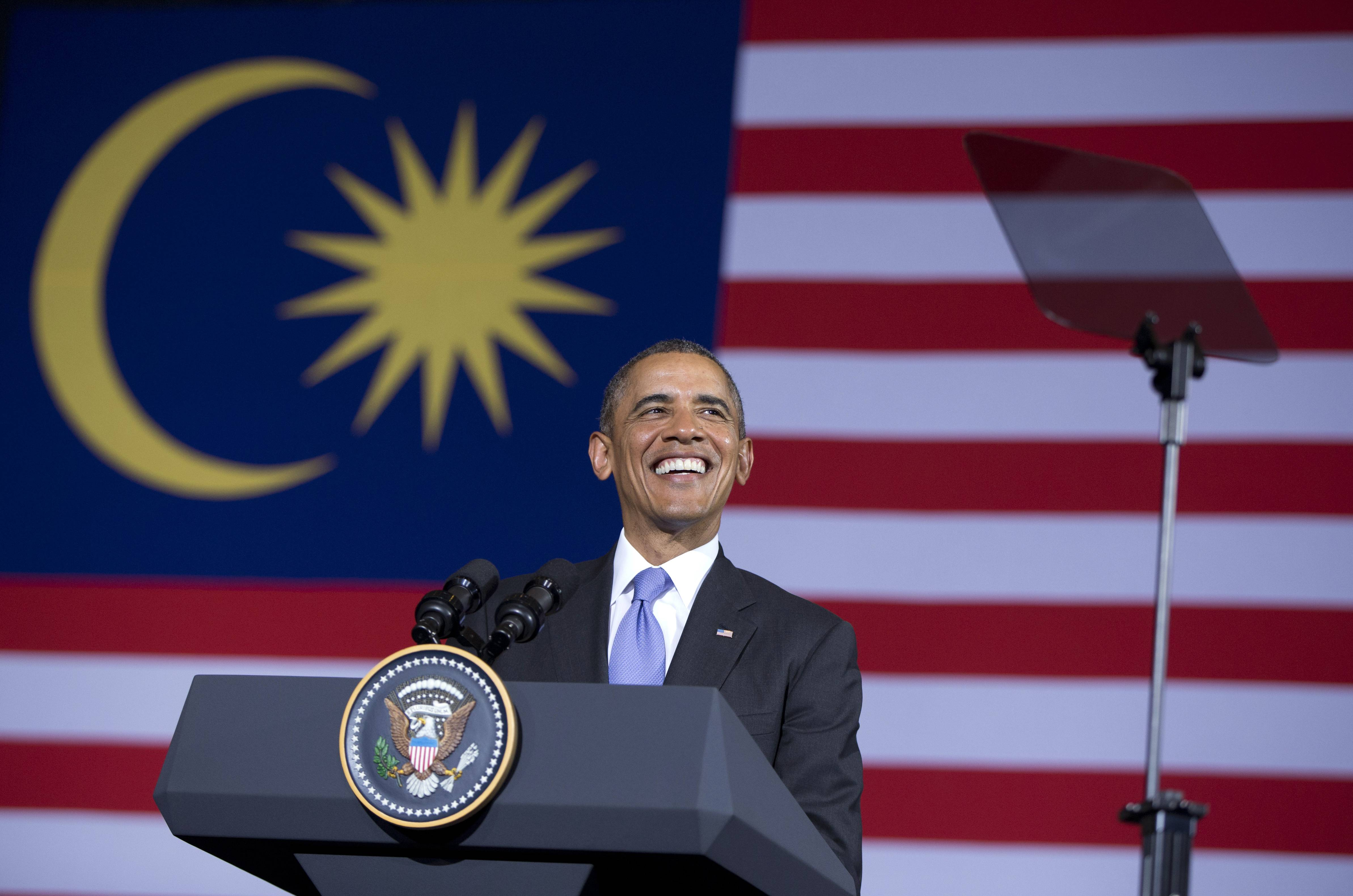 President Barack Obama speaks during a town hall meeting at Malaya University in Kuala Lumpur, Malaysia, Sunday. The last American president to visit Malaysia was Lyndon B. Johnson in 1966.