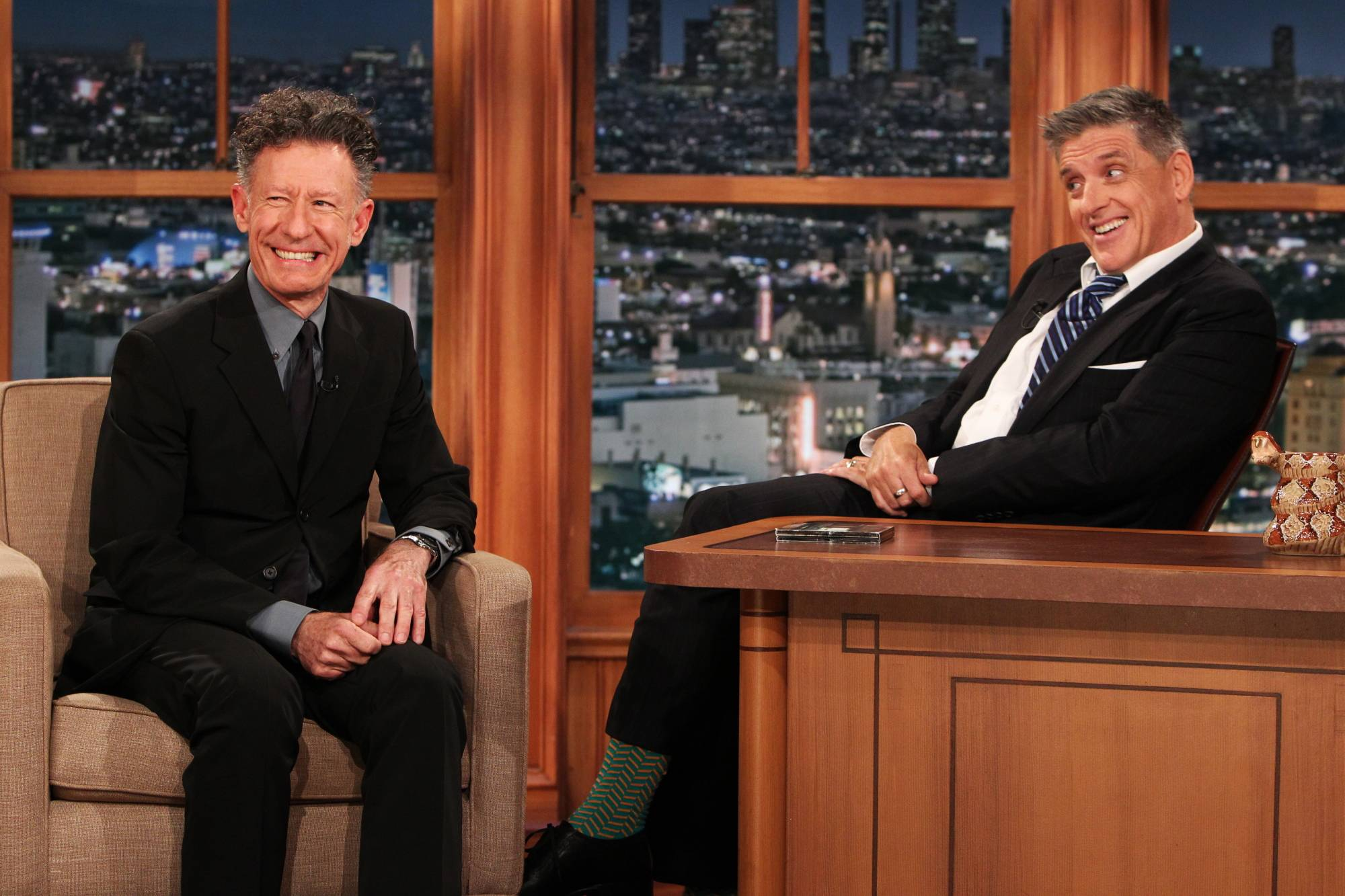 "This April 23 photo released by CBS shows Lyle Lovett, left, and Craig Ferguson on ""The Late Late Show with Craig Ferguson."""