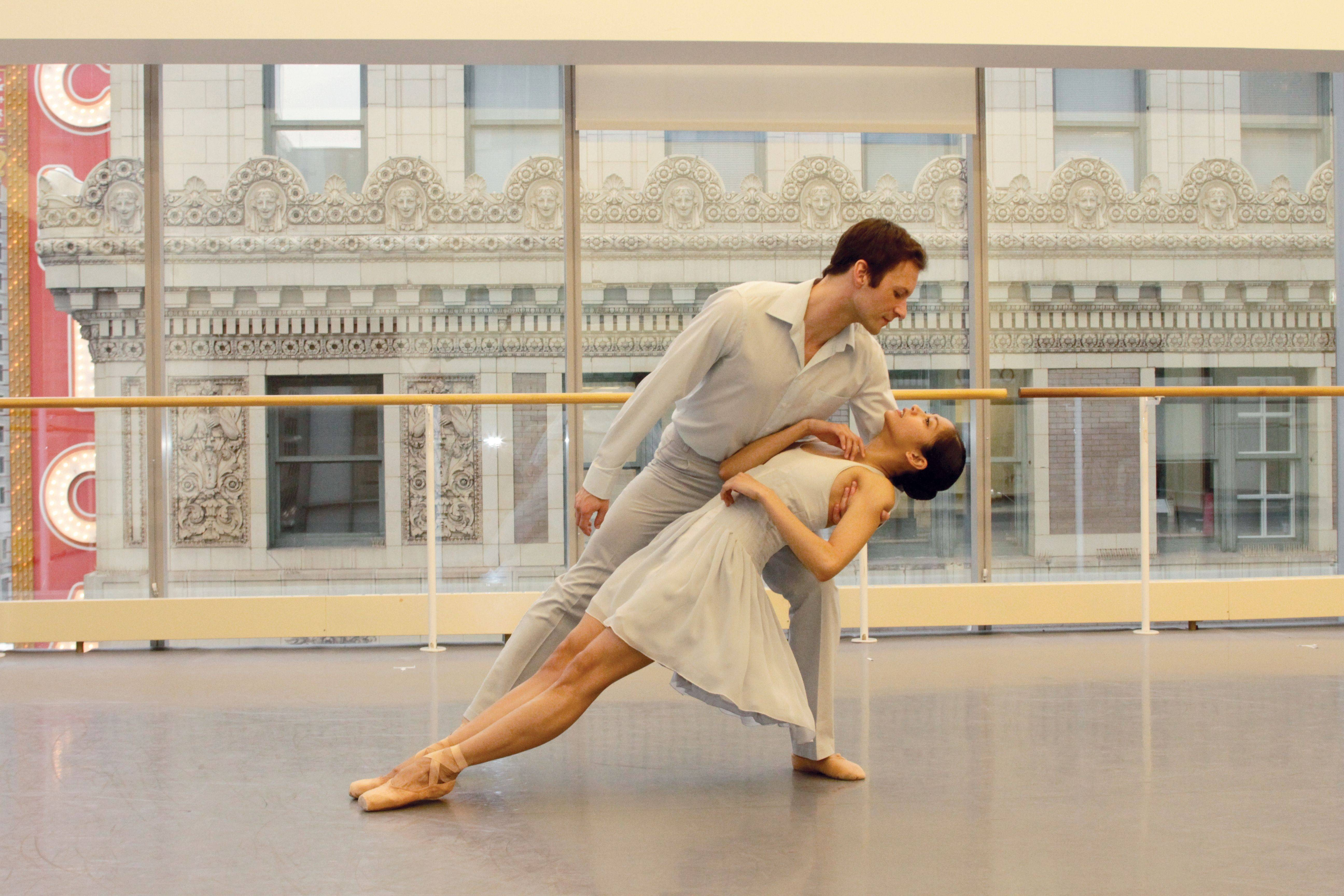 "Joffrey Ballet dancers Alberto Velazquez and Mahallia Ward rehearsing the U.S. premiere of choreographer Krzysztof Pastor's modern take on ""Romeo & Juliet,"" which plays from Wednesday, April 30, through Sunday, May 11, at the Auditorium Theatre of Roosevelt University in Chicago."