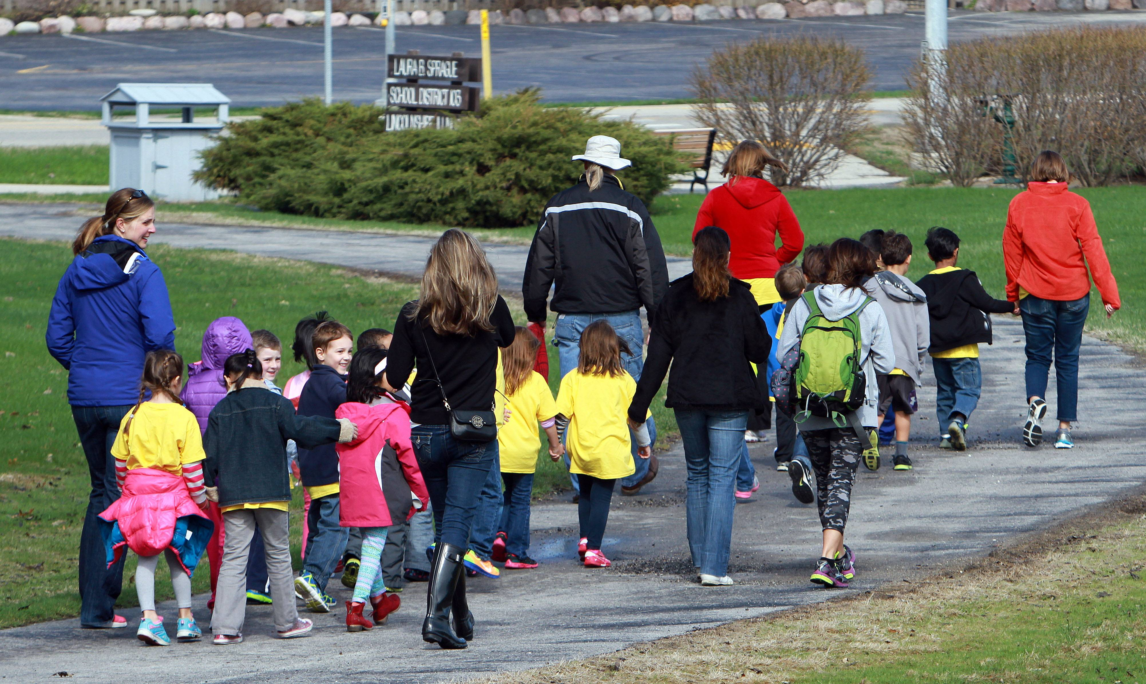 The AM kindergarten class at Laura B. Sprague in Lincolnshire participated in a walk for diabetes Friday.