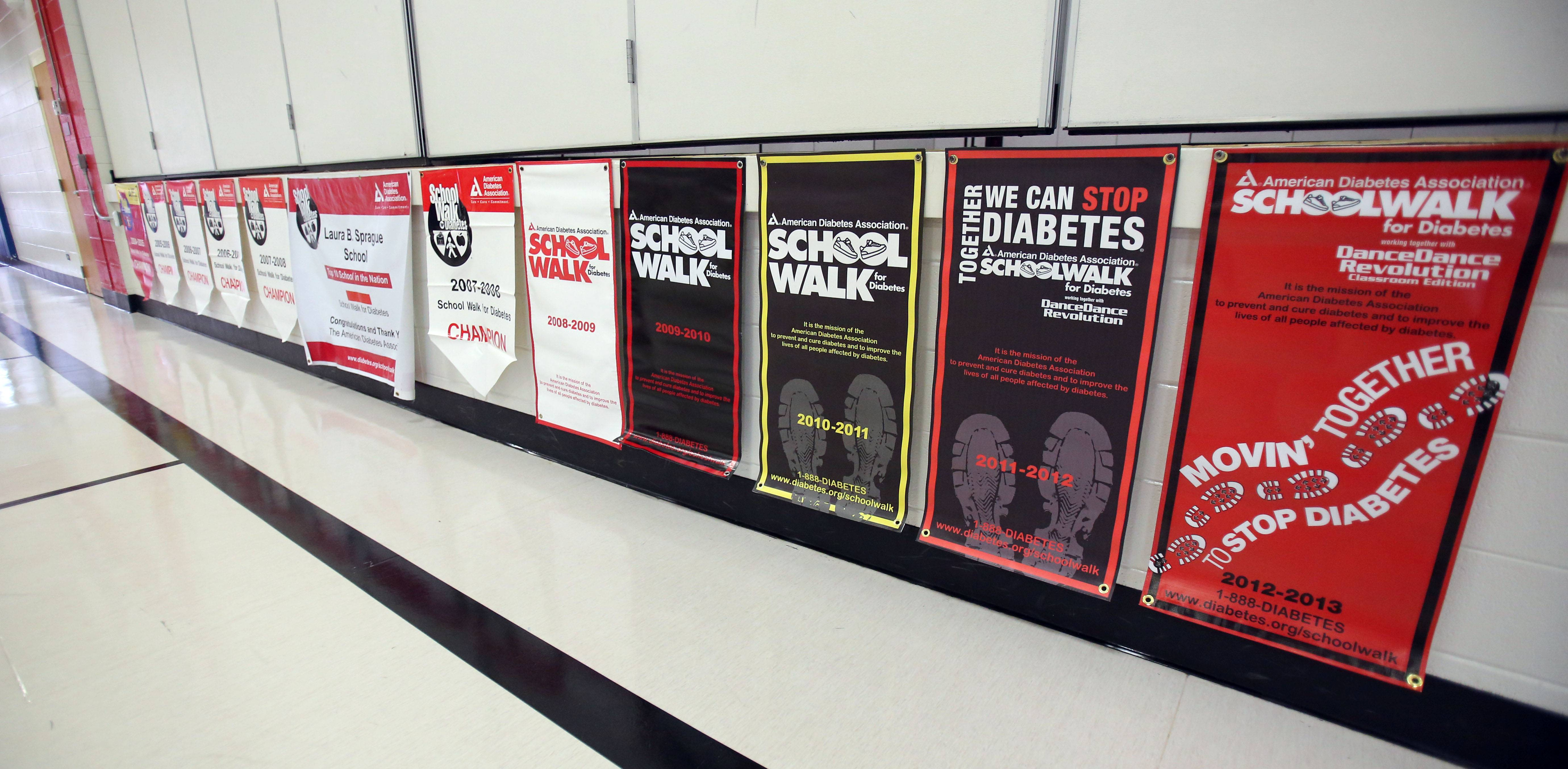 Diabetes walk banners hang in the gym at Laura B. Sprague in Lincolnshire. The school has held the annual walk since 2004.