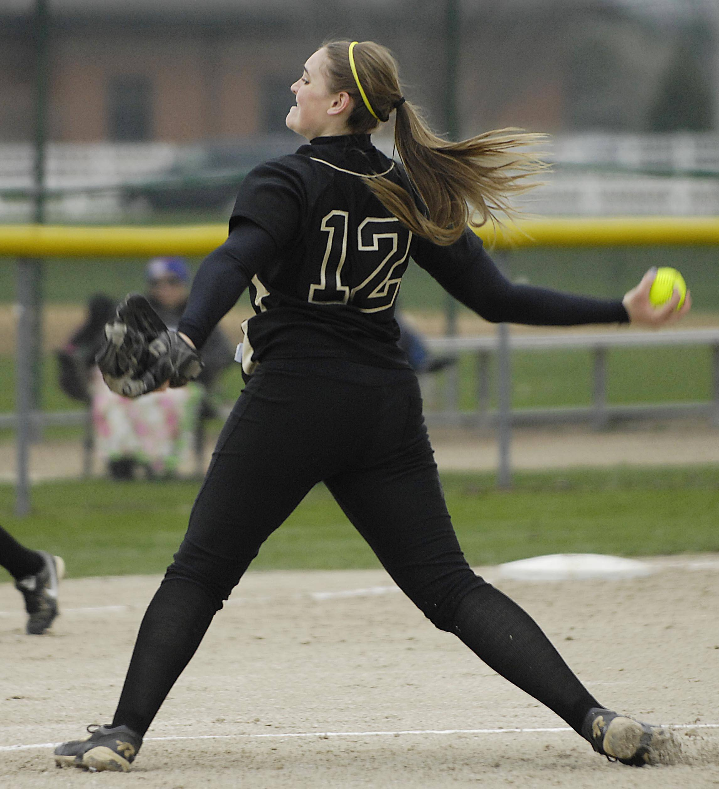 Streamwood pitcher Kaitlyn Hedger works against Batavia Monday in Batavia.