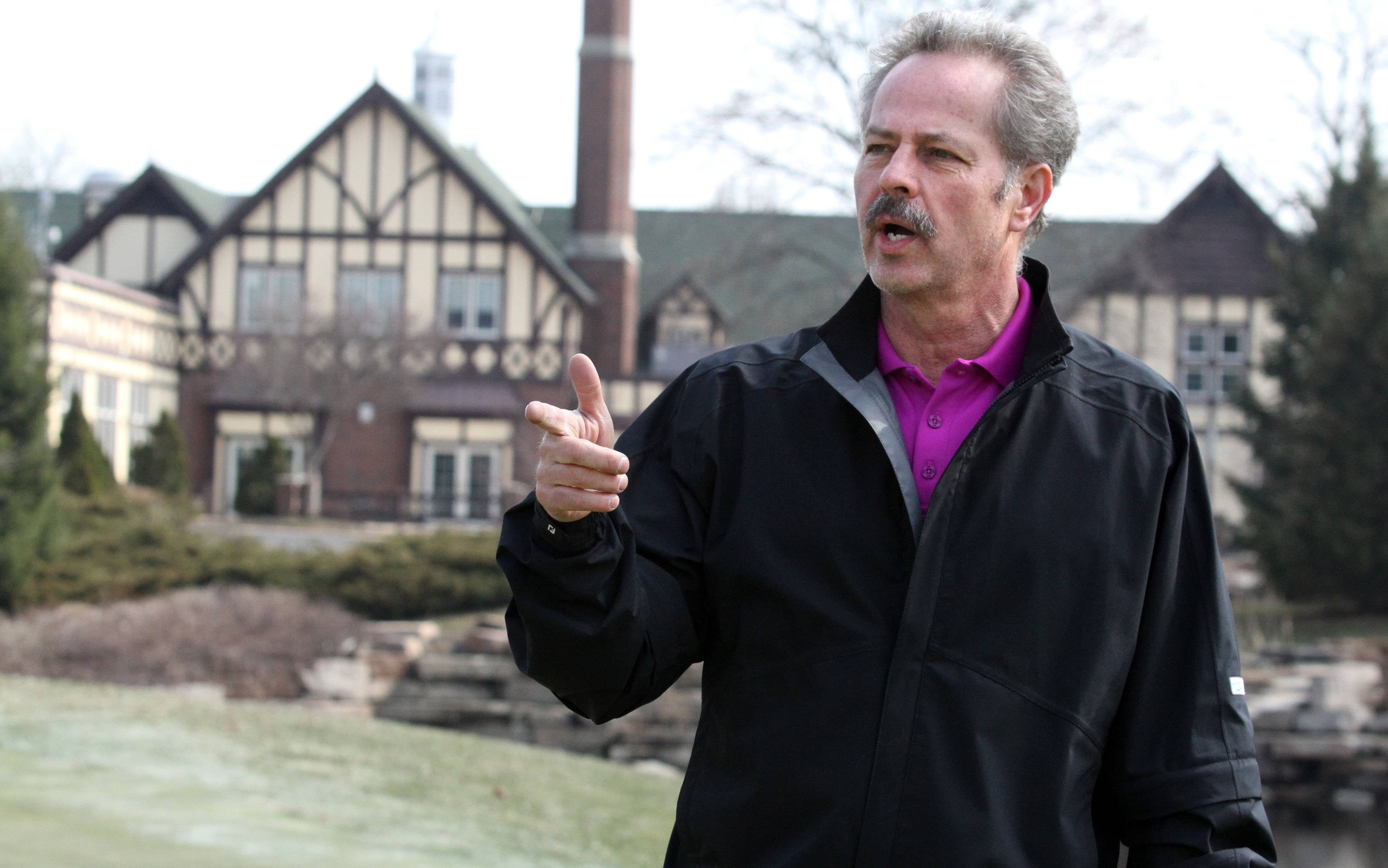 "Allen Parkes, golf course superintendent and general manager at Chevy Chase Golf Course in Wheeling, says an upside to the cold and snowy winter is ""no geese to tear up the turf."""