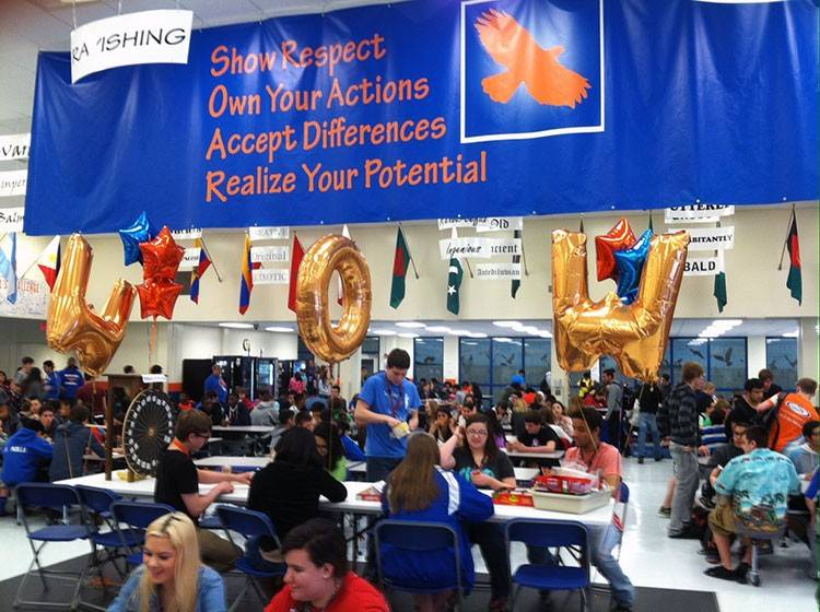 "Hoffman Estates High School participated in a ""Wardrobe of Words"" event, which was a weeklong celebration about the importance of words and language."