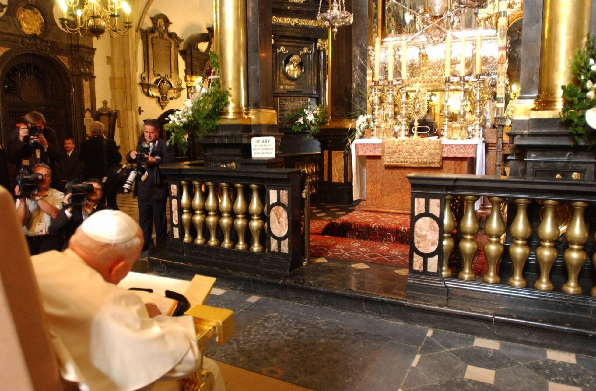 In 2002, Pope John Paul II prayed in front of the altar of the Wawel Cathedral in Krakow, Poland. On Nov. 2, 1946, the Rev. Karol Wojtyla, who became later Pope John Paul II, held his first Mass as a priest in the cathedral's crypt of St. Leonard. He was made bishop at the cathedral's main altar in July 1958.