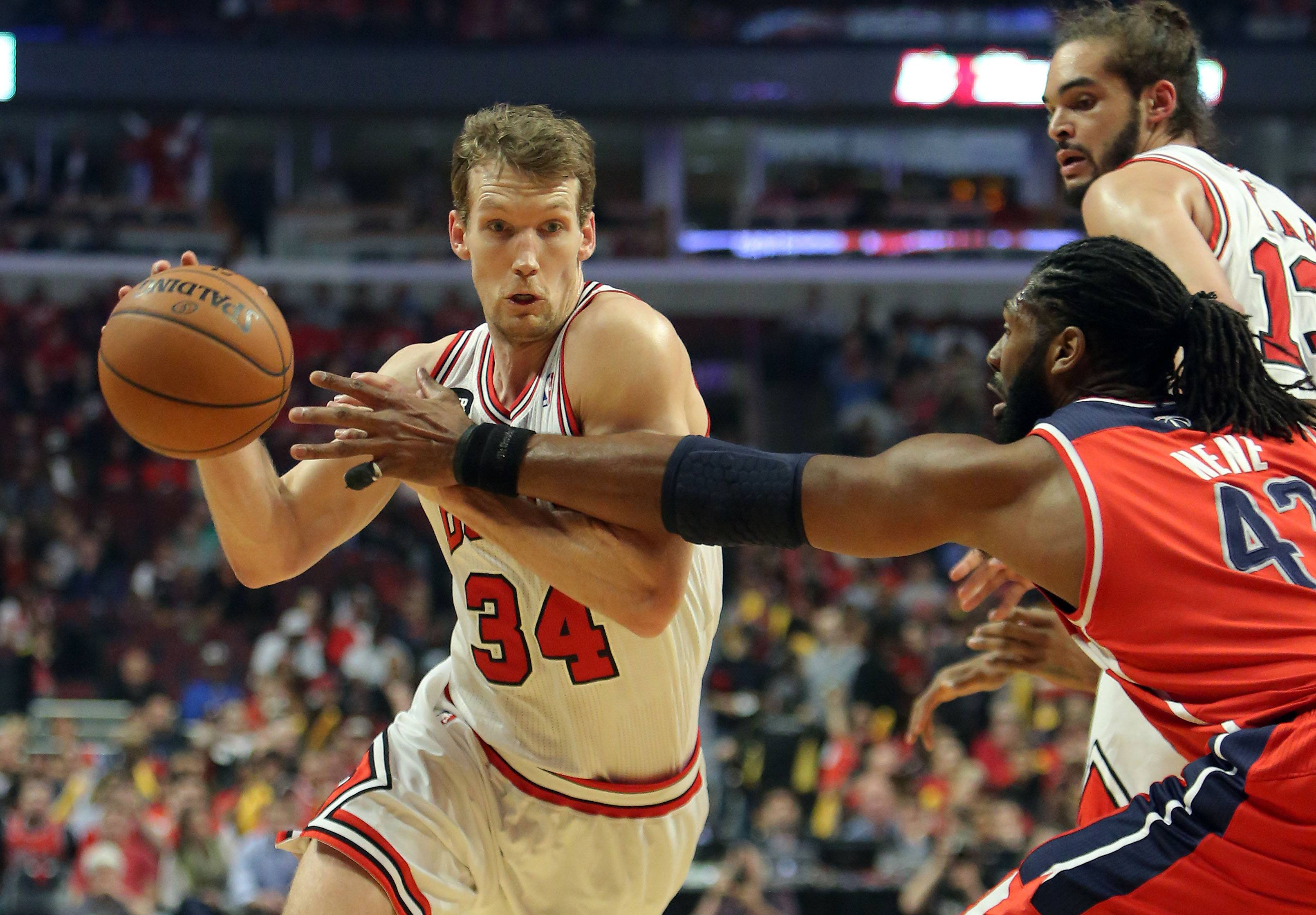 Chicago Bulls forward Mike Dunleavy drives on Washington Wizards forward Nene Hilario.