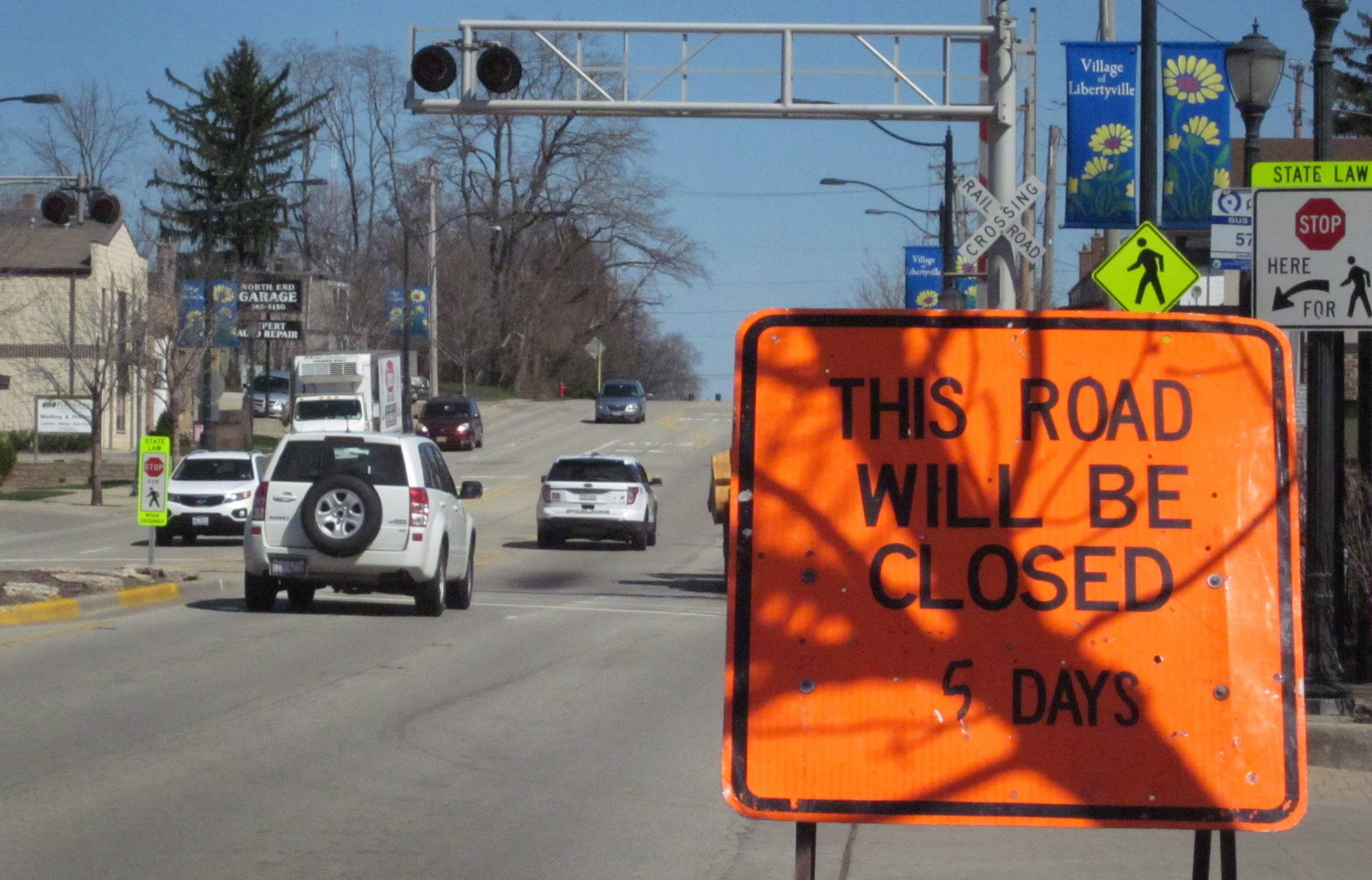 Busy Milwaukee Avenue in downtown Libertyville is scheduled to be closed for five days beginning at 9 a.m. Friday for emergency work to replace the Metra rail crossing.