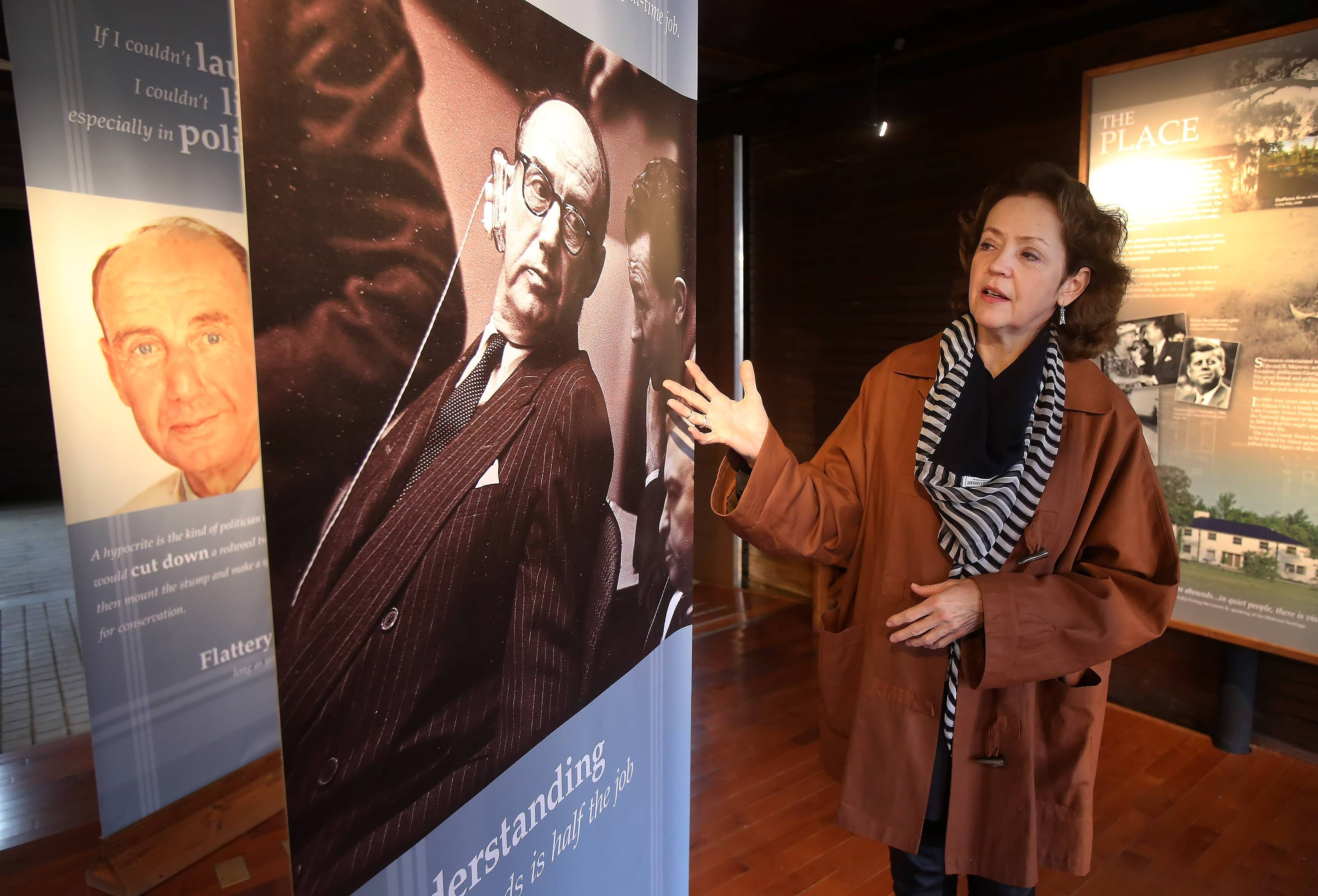 Katherine Hamilton-Smith, director of cultural resources at the Lake County Forest Preserve District, discusses the fact that the Adlai E. Stevenson II Historic Home in Mettawa has been named a national historic landmark by the National Park Service.