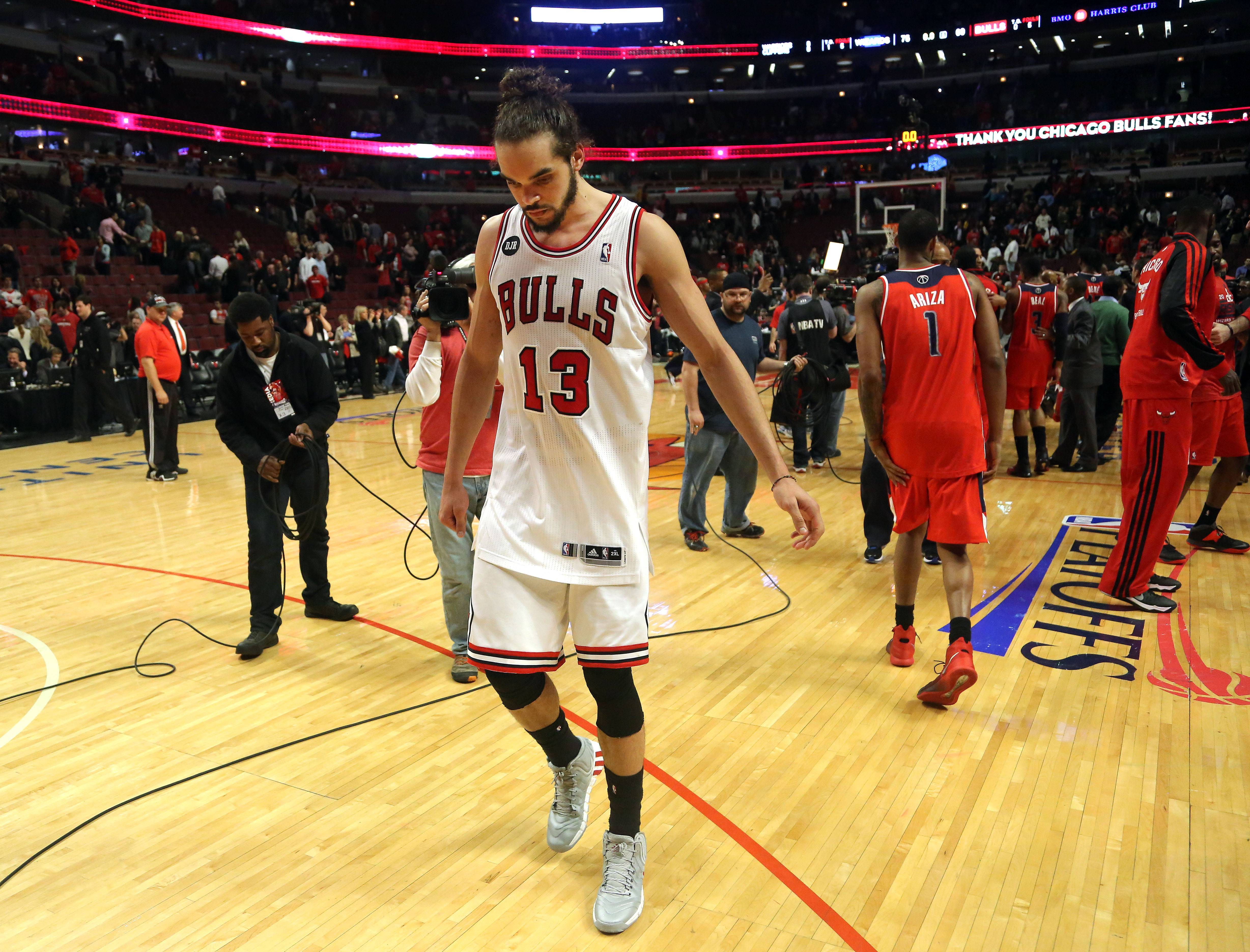 Chicago Bulls center Joakim Noah walks off the floor after the loss.