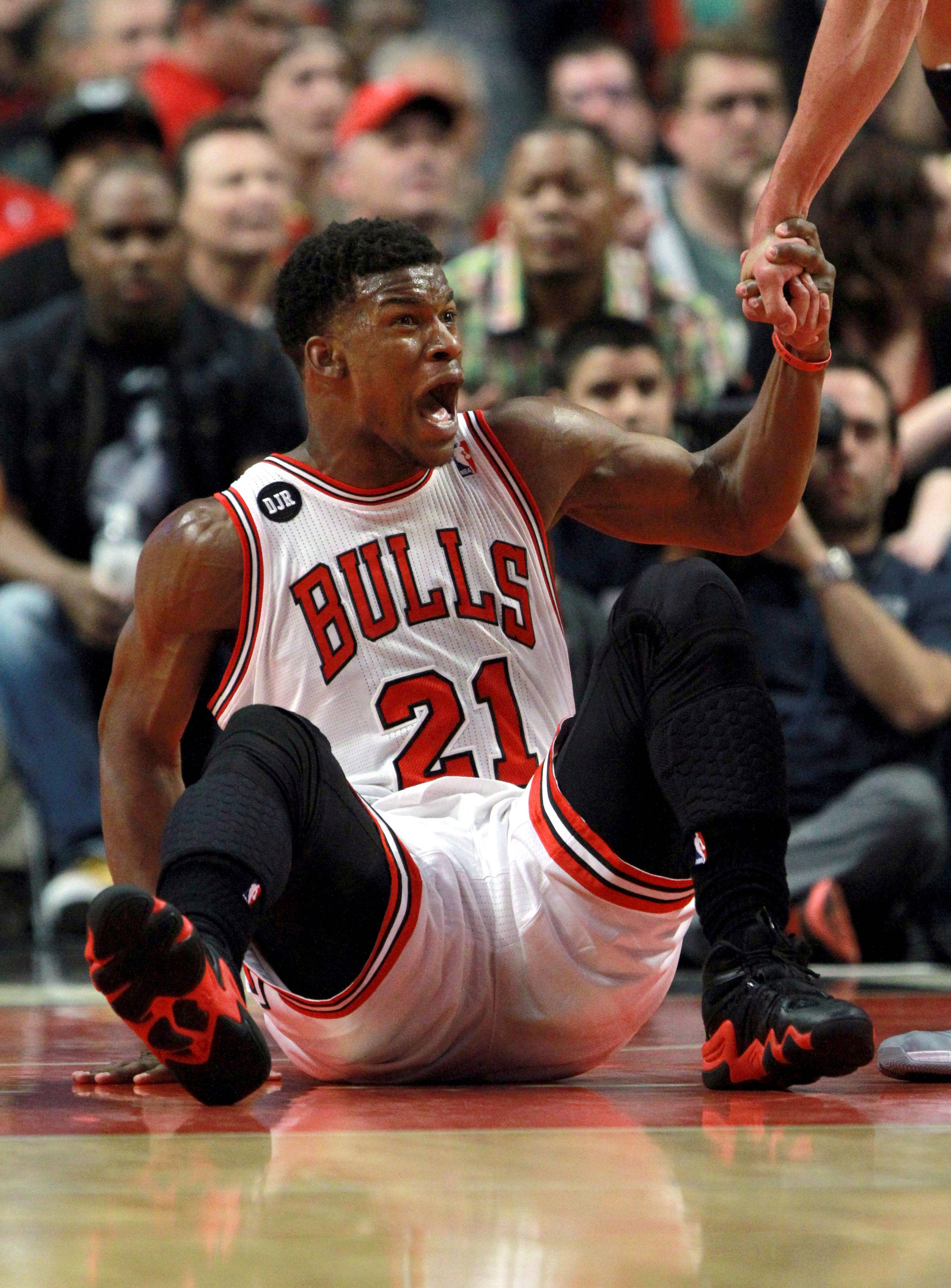 Chicago Bulls guard Jimmy Butler is angry after not getting a call.