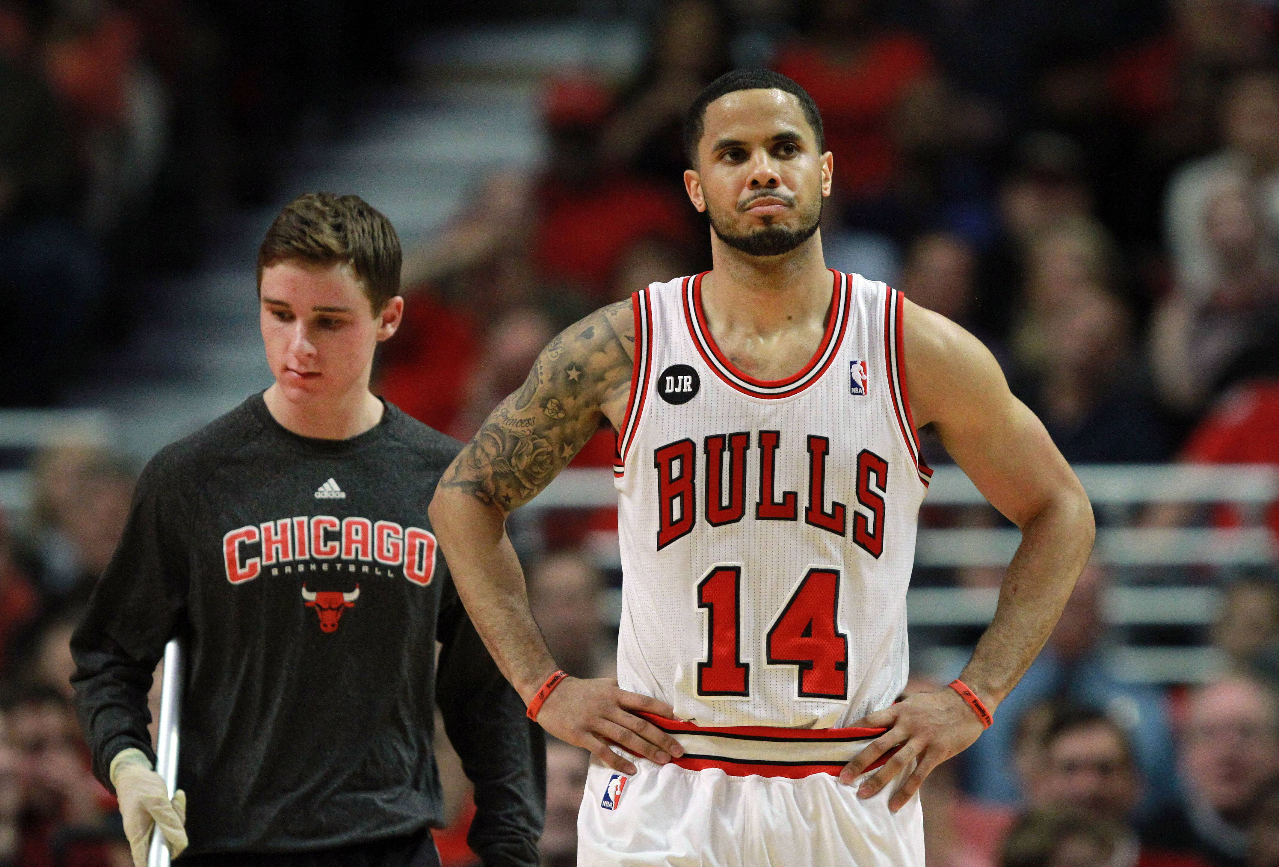 Chicago Bulls guard D.J. Augustin reacts.