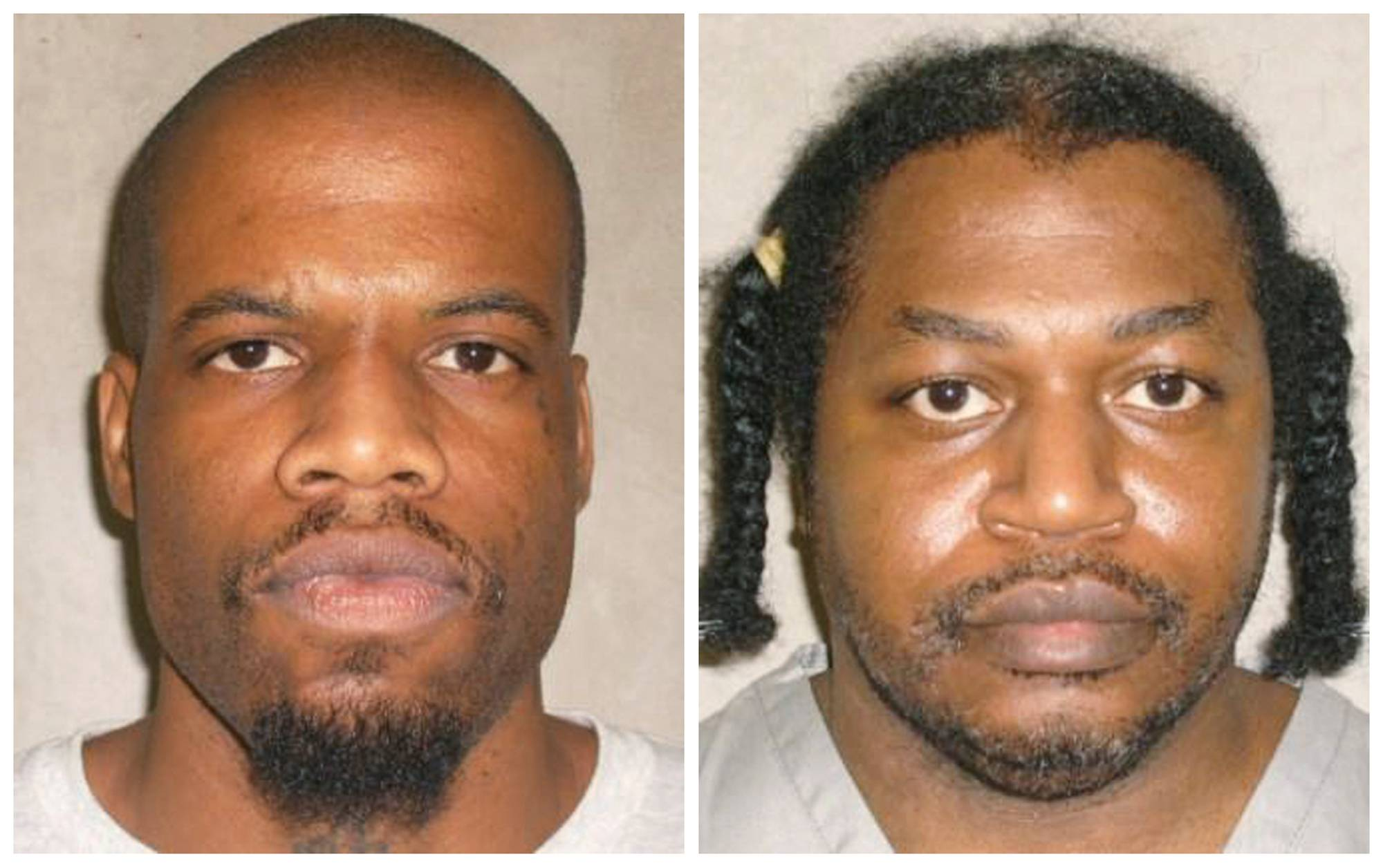 Clayton Lockett, left, and Charles Warner are seen in the composite photograph. Both were scheduled to be executed Tuesday, but Lockett's execution was halted because the delivery of a new drug combination was botched. He died of a heart attack, and Warner's execution was then postponed.