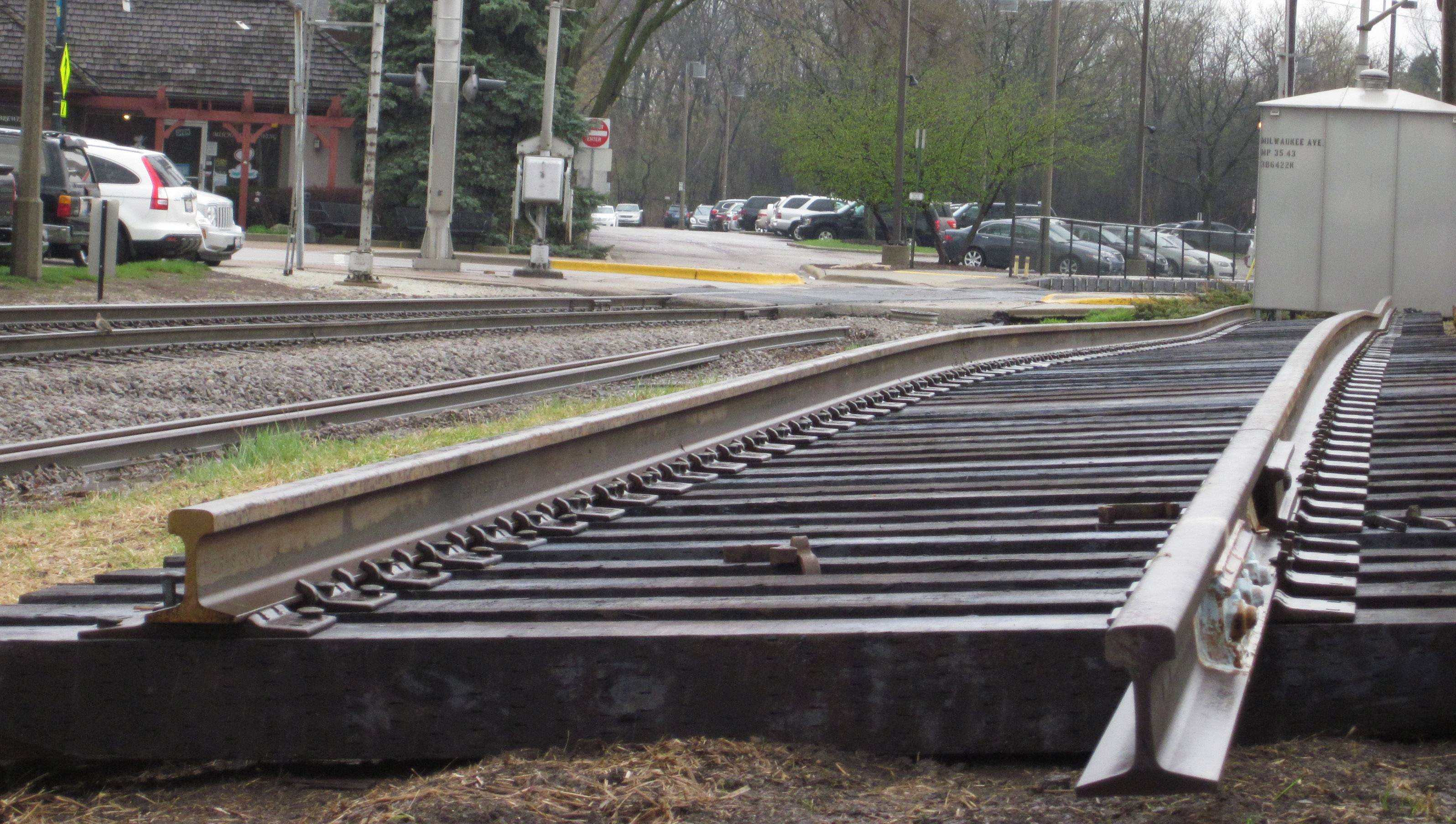 A section of track and ties near the Metra rail crossing at Milwaukee Avenue in downtown Libertyville. The crossing will be replaced beginning at 9 a.m. Friday and traffic will be detoured.