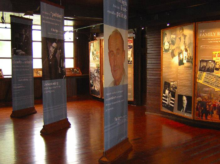 Displays in the Adlai Stevenson House.