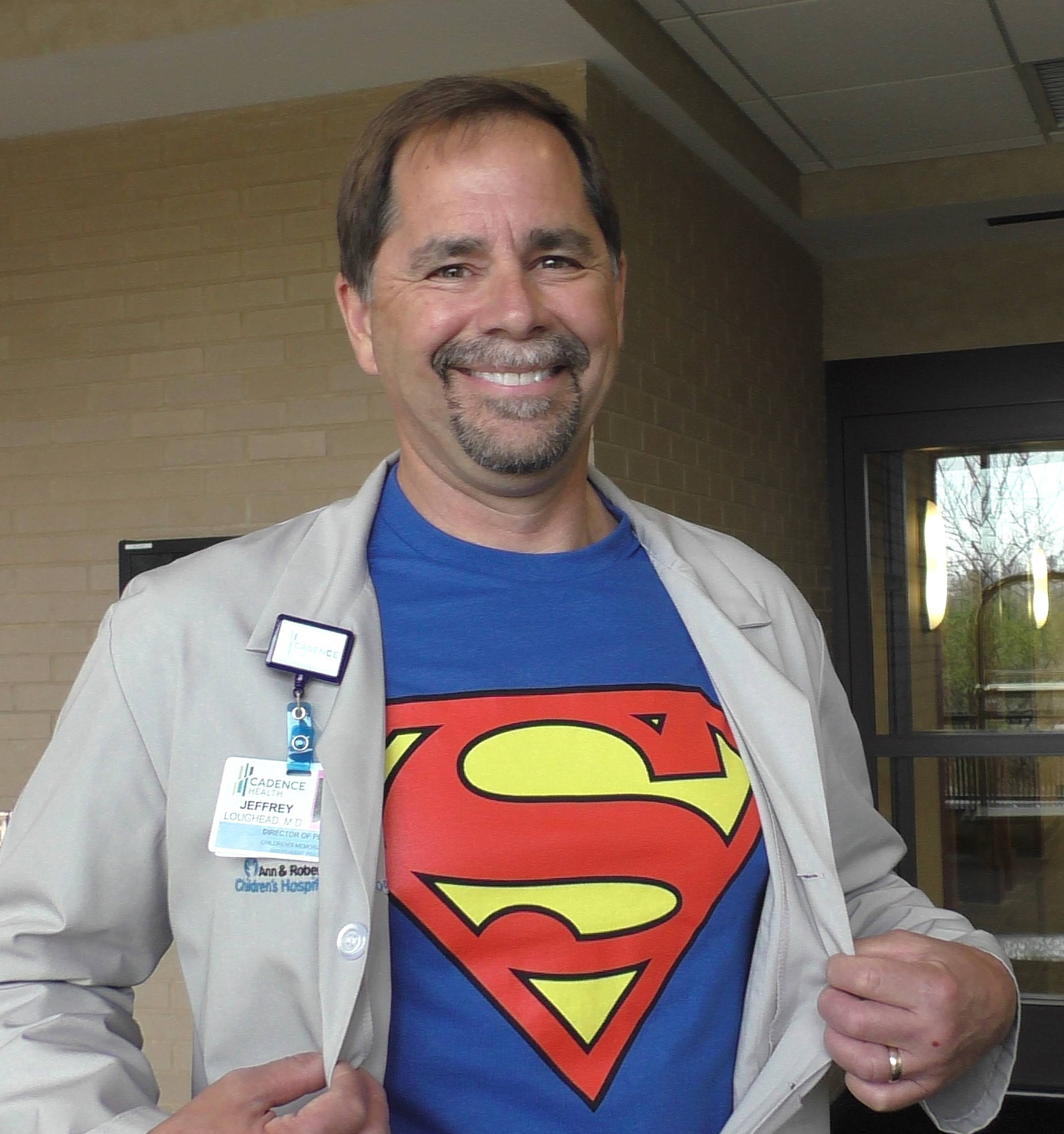 Dr. Jeffrey Loughead, neonatologist site leader of Lurie Children's at Cadence Health Pediatric Program, joined in on the fun for National Superhero Day.