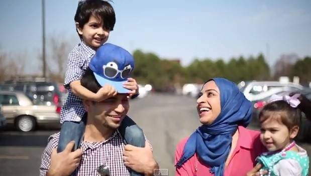 "Jumping at a chance to appear in a video that helps break stereotypes of Muslims, Des Plaines resident Bilal Baweja and his wife, Emma Qureshi, frolic with their children Mikael and Sophie Baweja to the tune of ""Happy."" Watch the video at dailyherald.com/more."