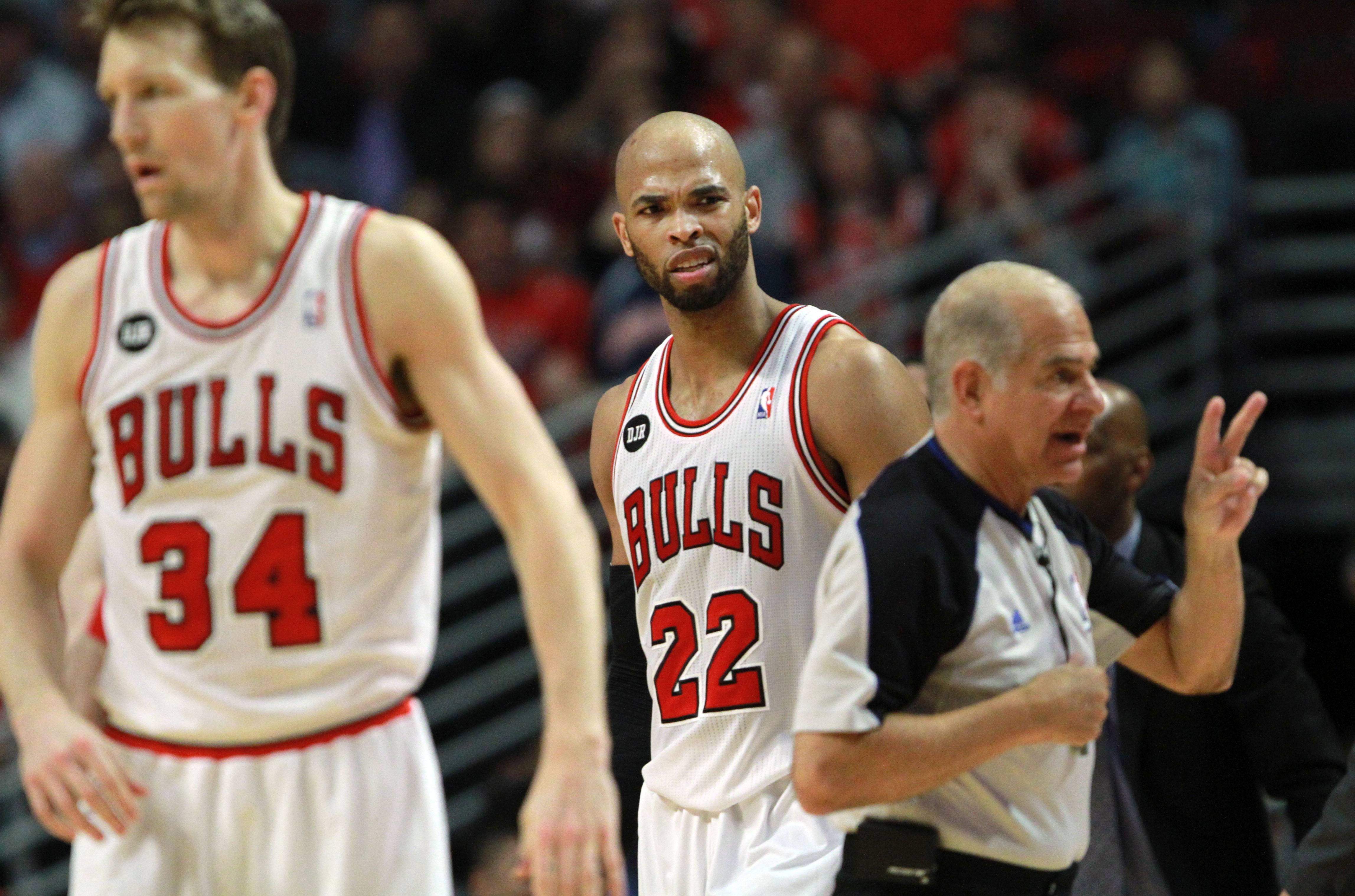 Bulls forward Taj Gibson disagrees with a call during the Bulls 75-69 loss in game five of first-round of the NBA playoffs Tuesday night at the United Center.