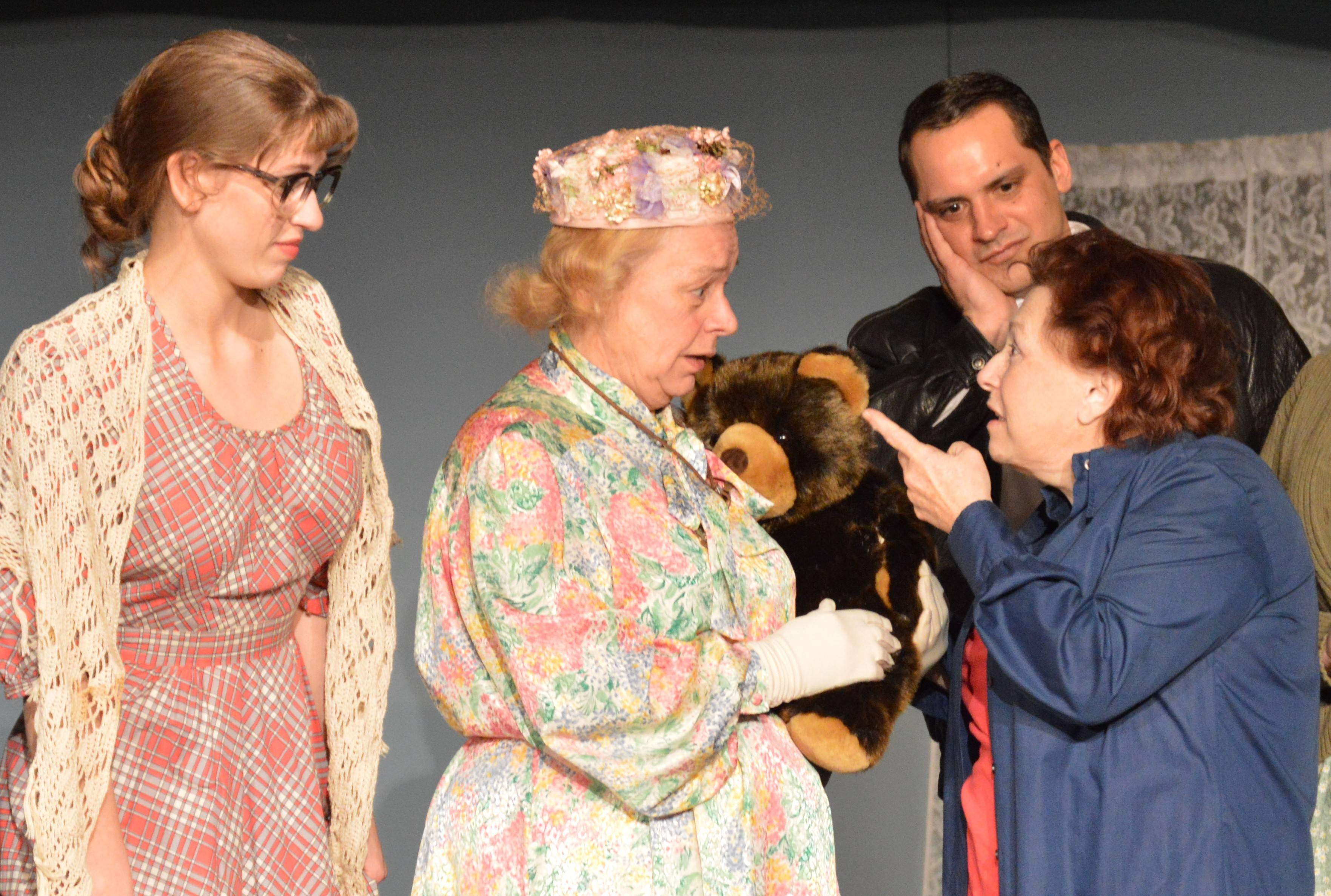 "More cast members of ""The Curious Savage"" are Fairy (Amaria VonDran of Geneva), left, Mrs. Savage (Dorothy Attermeyer of Hinsdale), Jeff (Ryan Green of Batavia) and Mrs. Paddy (Jan Spink of Elgin)."