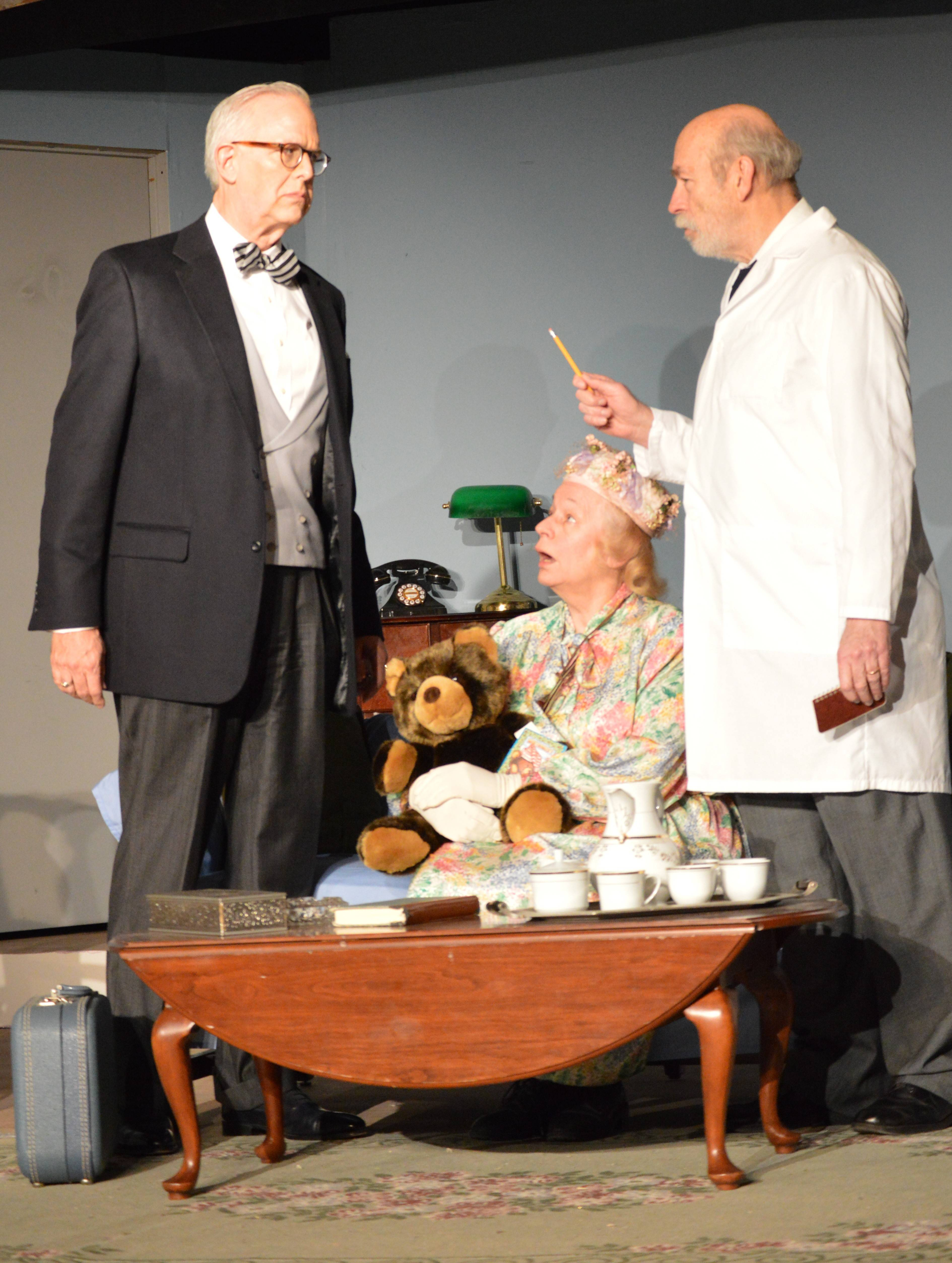 "Rounding out the ""The Curious Savage"" cast are, Titus Savage (R. Scott Purdy of St. Charles), left, Mrs. Savage (Dorothy Attermeyer of Hinsdale), Dr. Emmett (Bruce Worthel of North Aurora)."