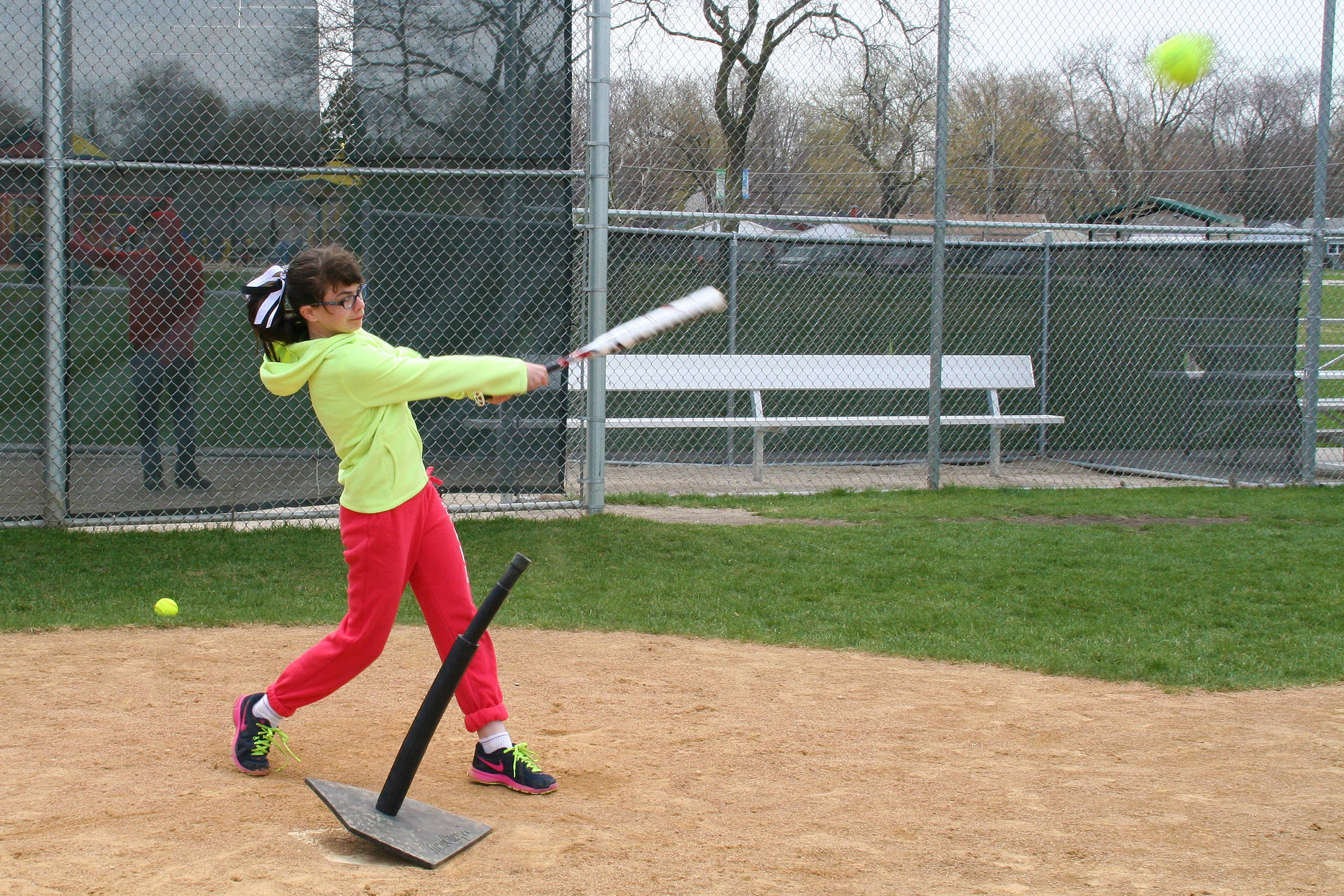 Annie Gaughan blasts one from home plate to become the Overall Champion in the Girls' 11/12 age group at the April 27 Pitch, Hit & Run Competition at West ParkLisa Haring