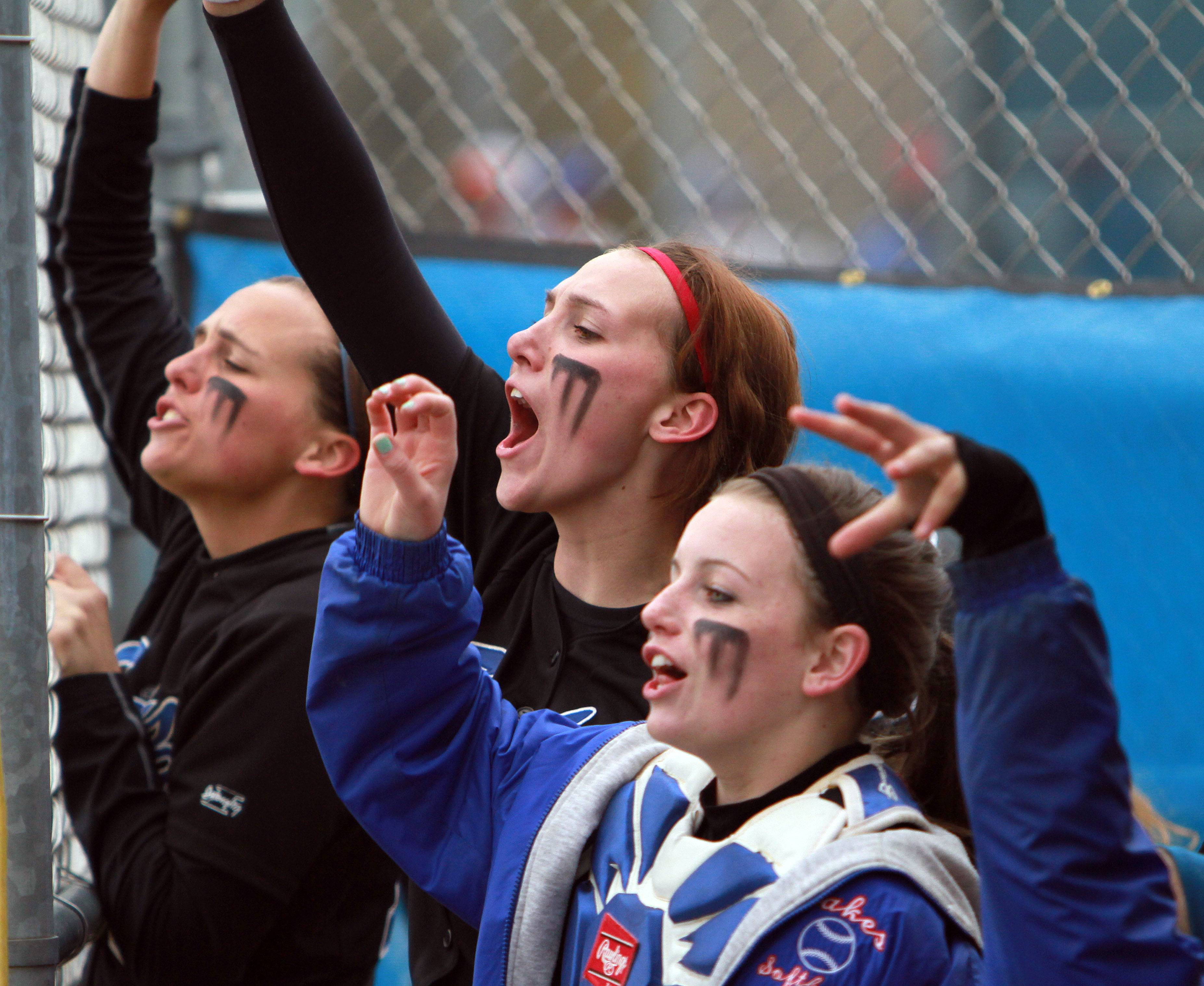 Lakes' players cheer against Antioch on Wednesday at Lakes.