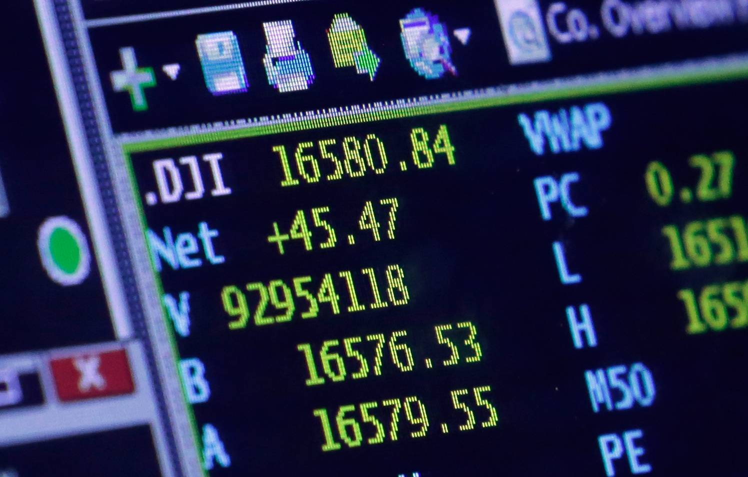 ASSOCIATED PRESSA screen at a trading post on the floor of the New York Stock Exchange shows the closing number for the Dow Jones industrial average Wednesday. The DJIA closed at an all-time high, with a gain of 45 points to 16,580, four points above the record high it set on Dec. 31, 2013.