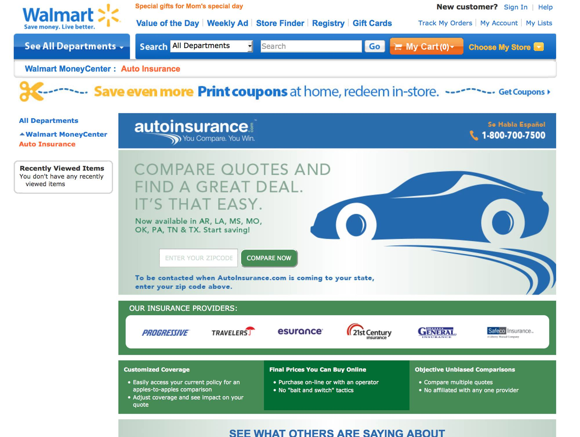 Wal-Mart is bringing one-stop shopping to another area: auto insurance.The world's largest retailer has teamed up with AutoInsurance.com to let shoppers quickly find and buy insurance policies online in real time to cut down costs.