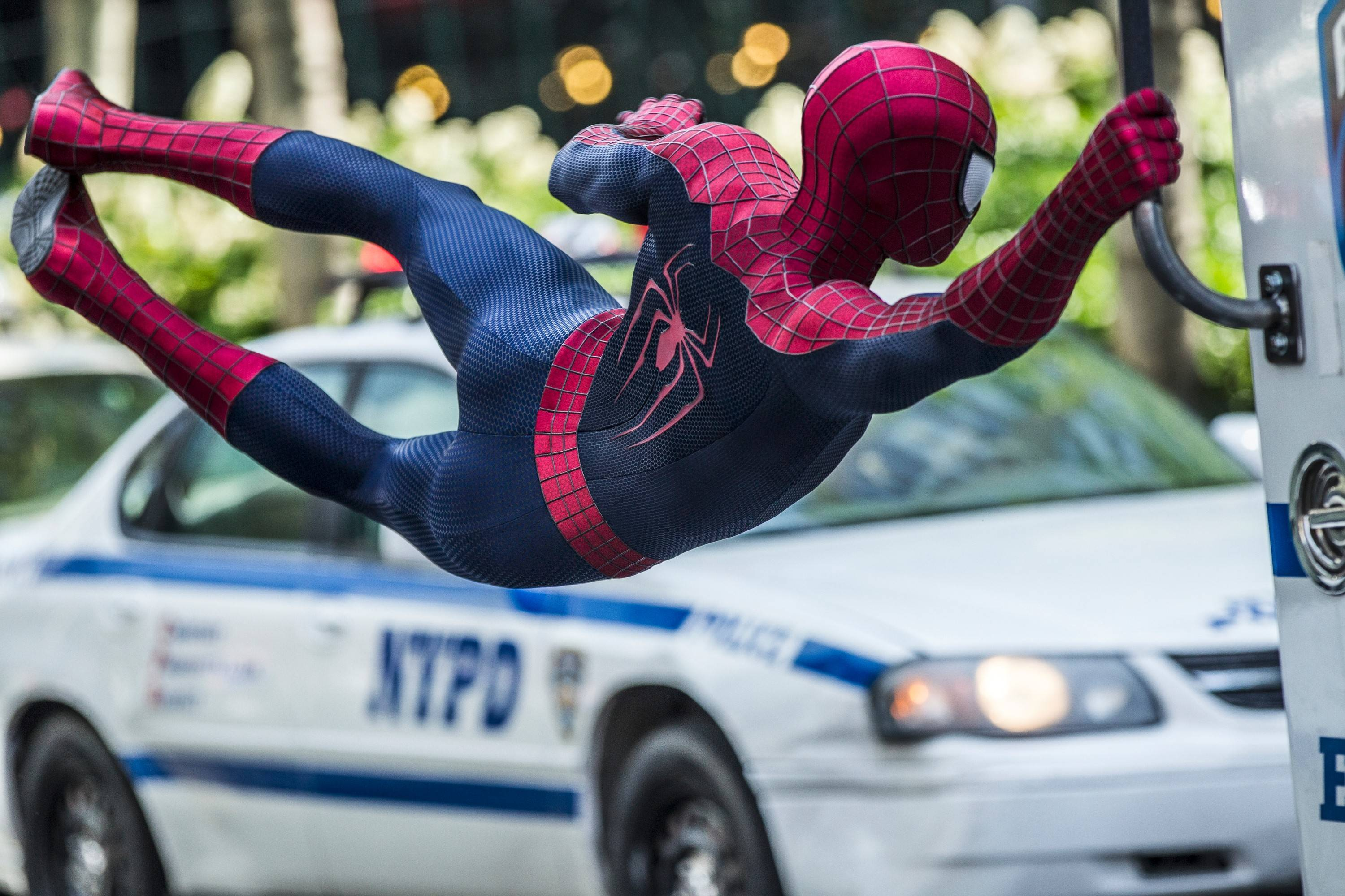 "New York's webbed crusader (Andrew Garfield, or is it his stunt double?) swings back into action during ""The Amazing Spider-Man 2."""