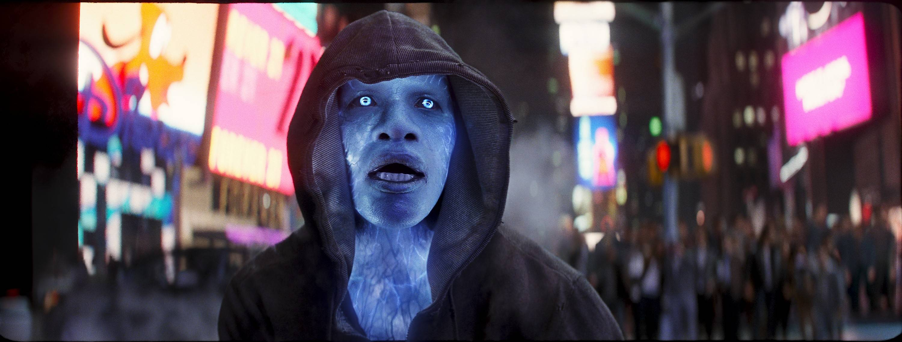 "An obscure Oscorp employee (Jamie Foxx) transforms into the villainous Electro during ""The Amazing Spider-Man 2."""