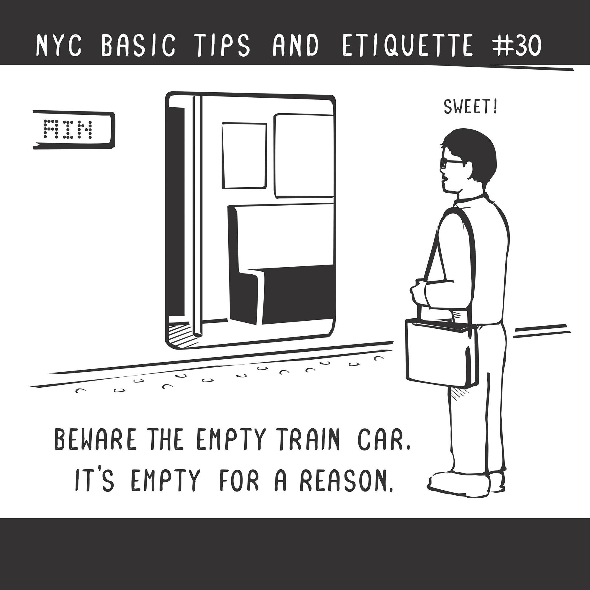 "Beware the empty NYC subway car, according to Nathan Pyle's new book, ""NYC Basic Tips and Etiquette."""