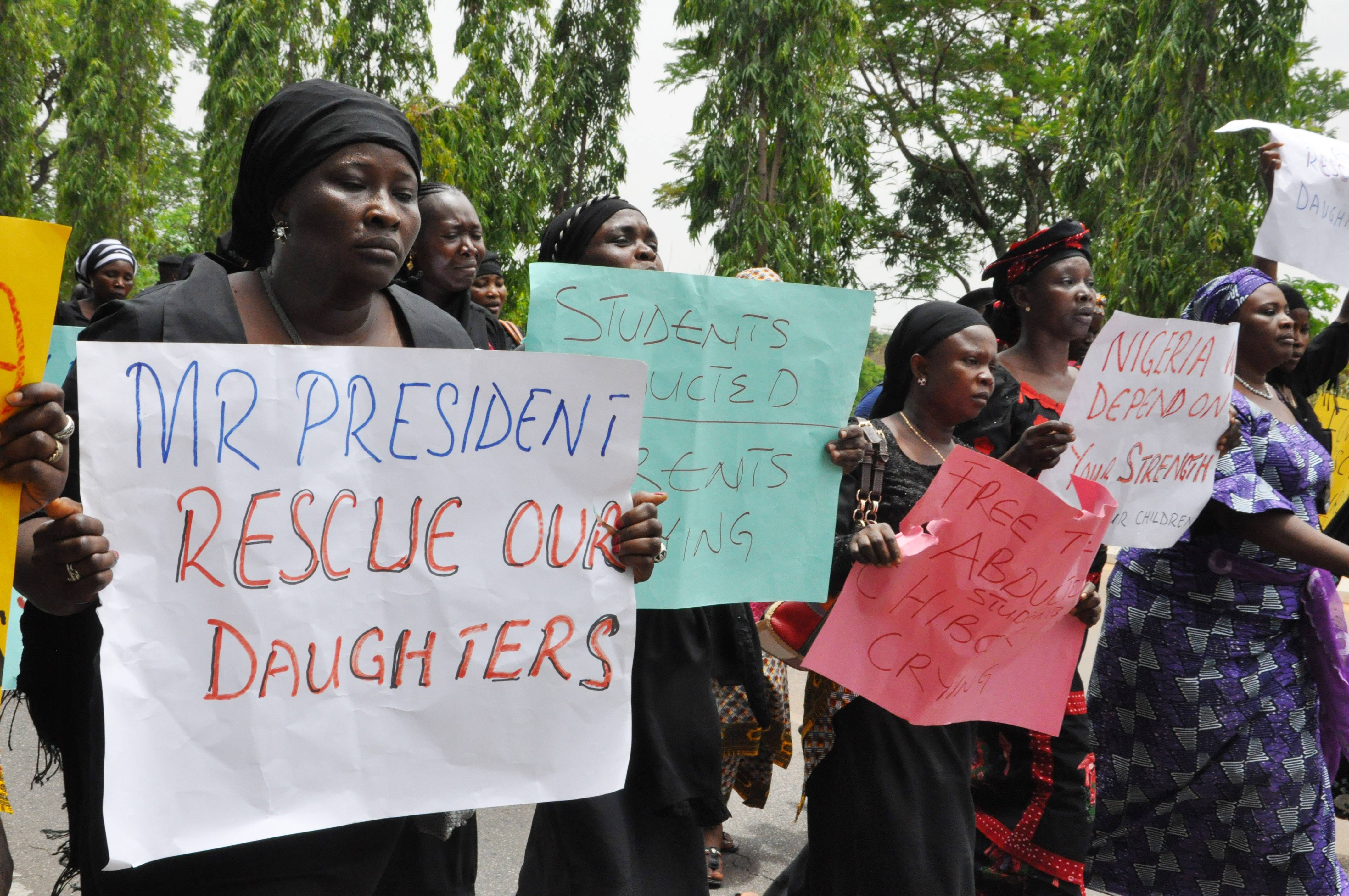 Associated PressUnidentified mothers call for the president to help, during a demonstration with others who have daughters among the kidnapped school girls of government secondary school Chibok, Tuesday April 29, 2014, in Abuja, Nigeria.