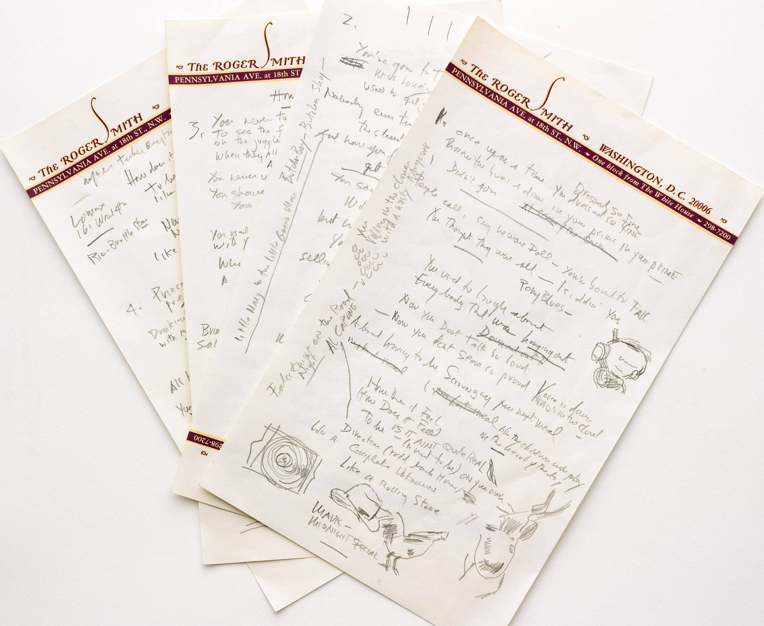 "A working draft of Bob Dylan's ""Like a Rolling Stone,"" one of the most popular songs of all time. The draft, in Dylan's own hand, is coming to auction in New York on June 24, 2014, where it could fetch an estimated $1 million to $2 million."
