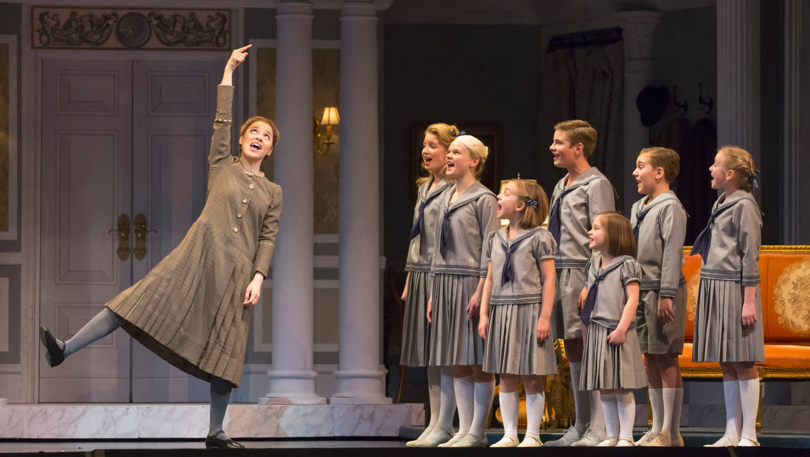 "Jenn Gambatese's Maria teaches the von Trapp children the joy of music in Lyric Opera of Chicago's ""The Sound of Music."""
