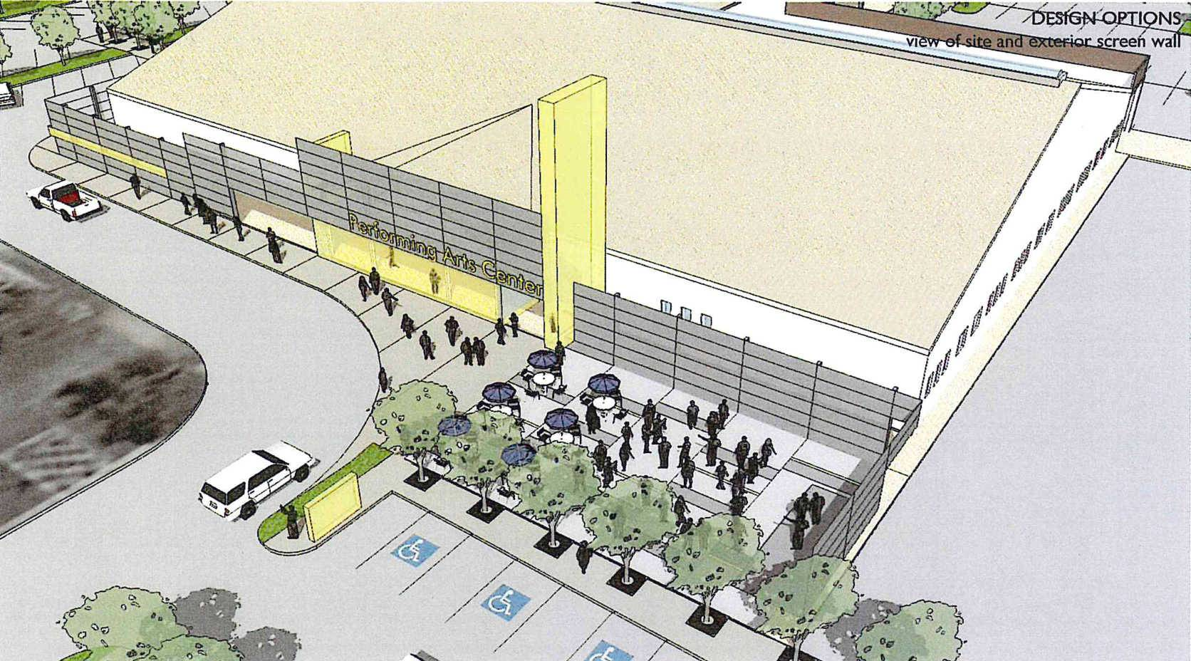 An artist's rendering of the ultimate plan for the Buffalo Grove Park District's Community Arts Center, where a 400-seat interim theater is expected to be completed at the end of the month.