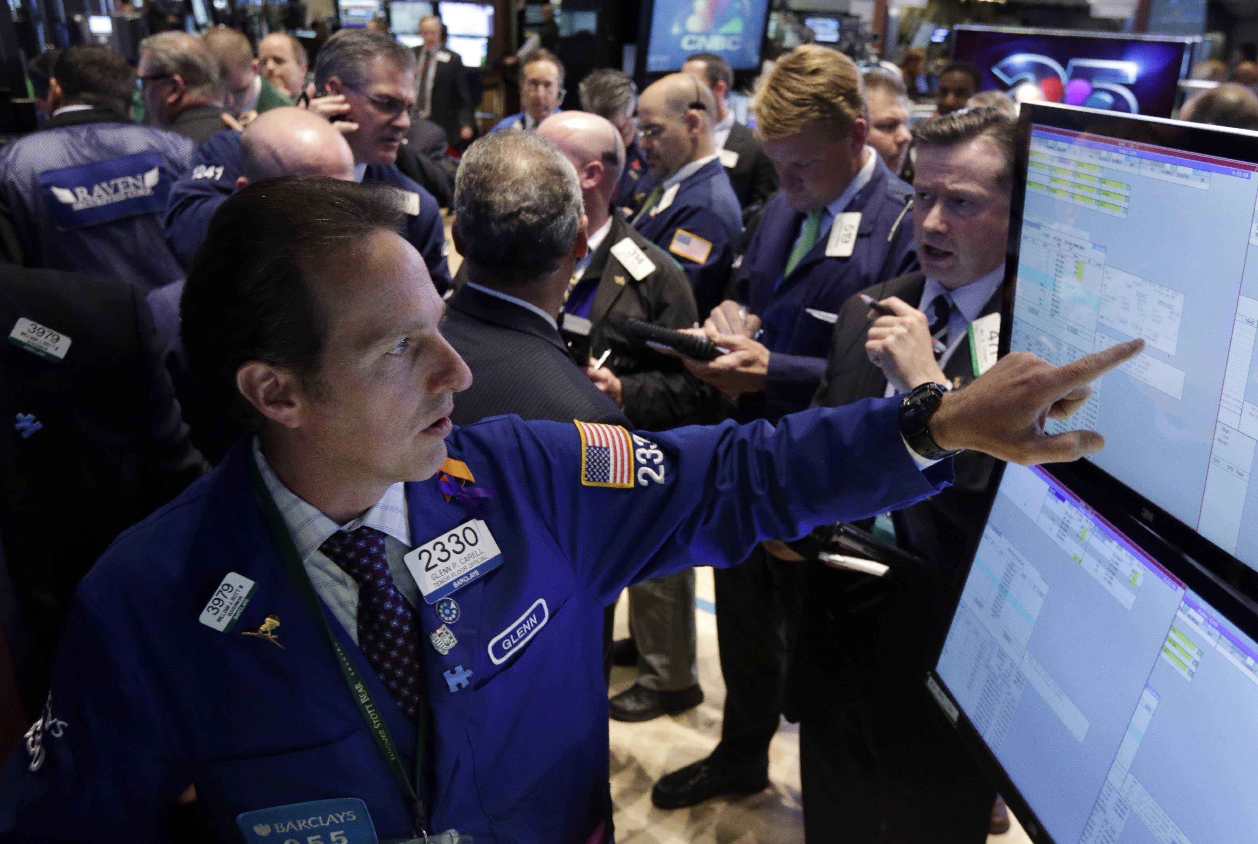 U.S. stocks ended little changed, with the Dow Jones Industrial Average falling from a record, as data showed an increase in jobless claims before the government's monthly labor report tomorrow.