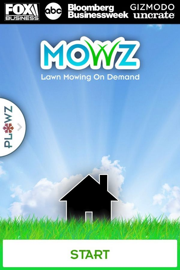 A screen shot of the new Mowz app that helps suburban homeowners care for their lawn.