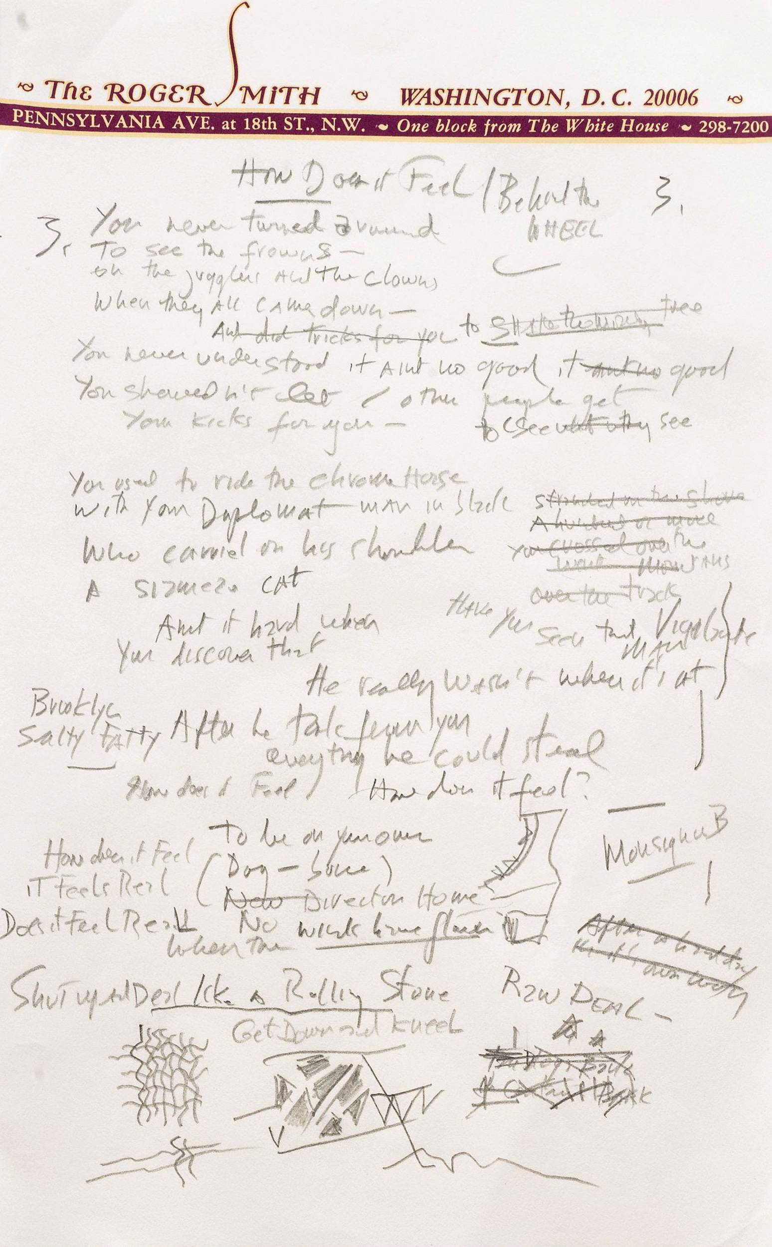 "A page from a working draft of Bob Dylan's ""Like a Rolling Stone,"" one of the most popular songs of all time. The draft, in Dylan's own hand, is coming to auction in New York on June 24, 2014 where it could fetch an estimated $1 million to $2 million."