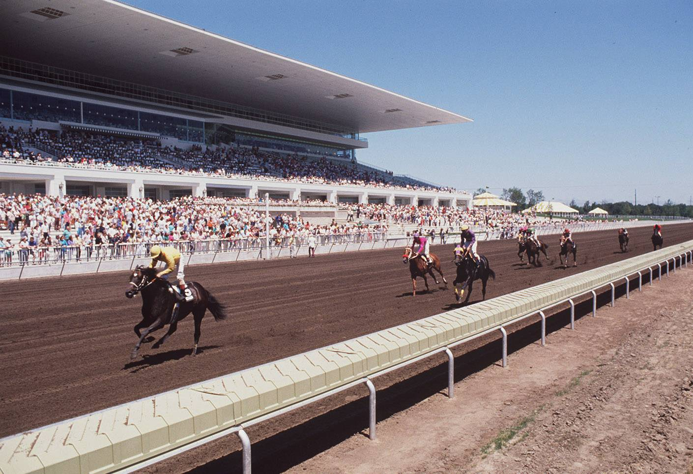 Horses race during the grand opening of the new Arlington International Racecourse on July 1, 1989.