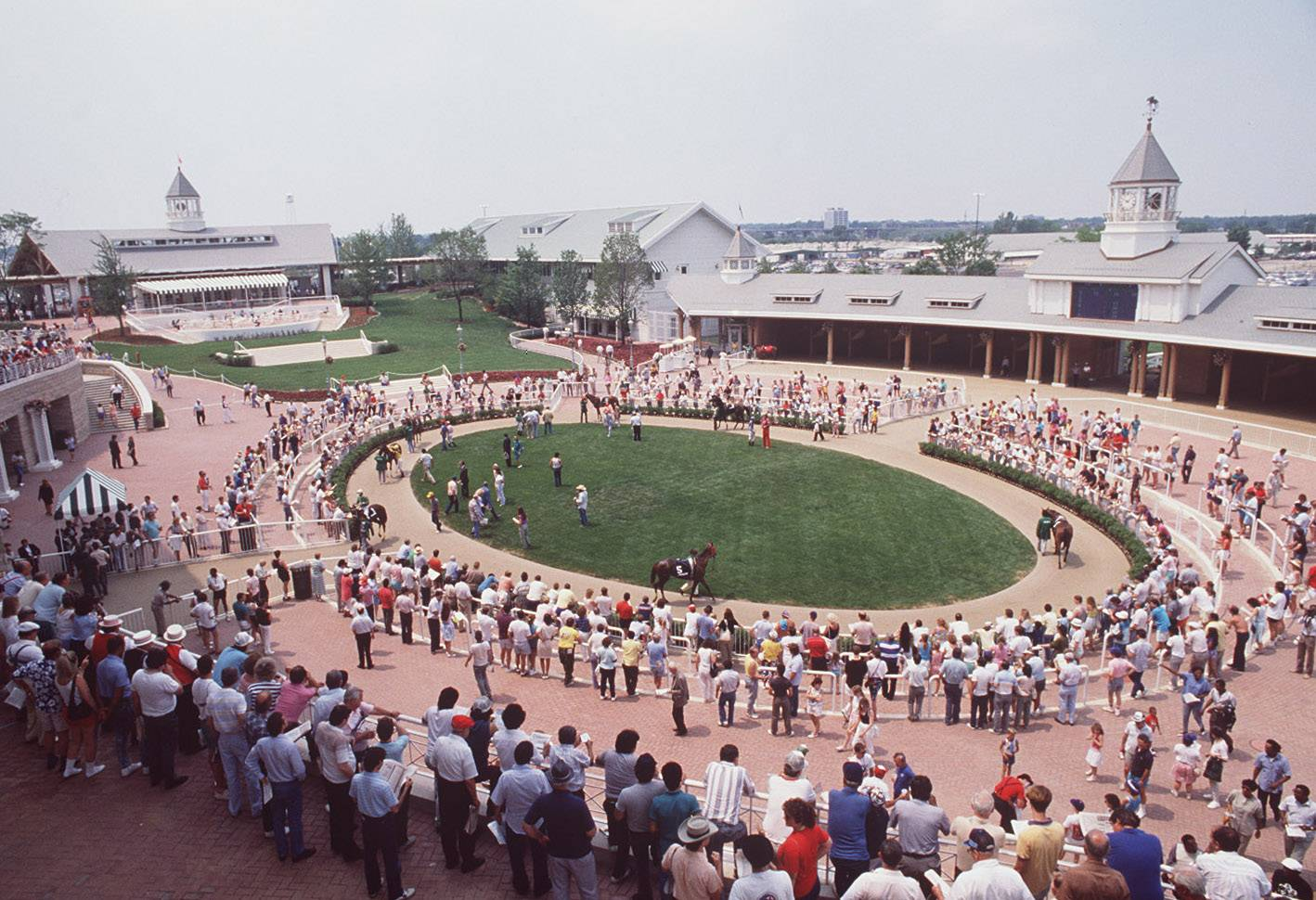 Fans check out the horses in the paddock area on the grand opening of the new Arlington International Racecourse  in July, 1989.