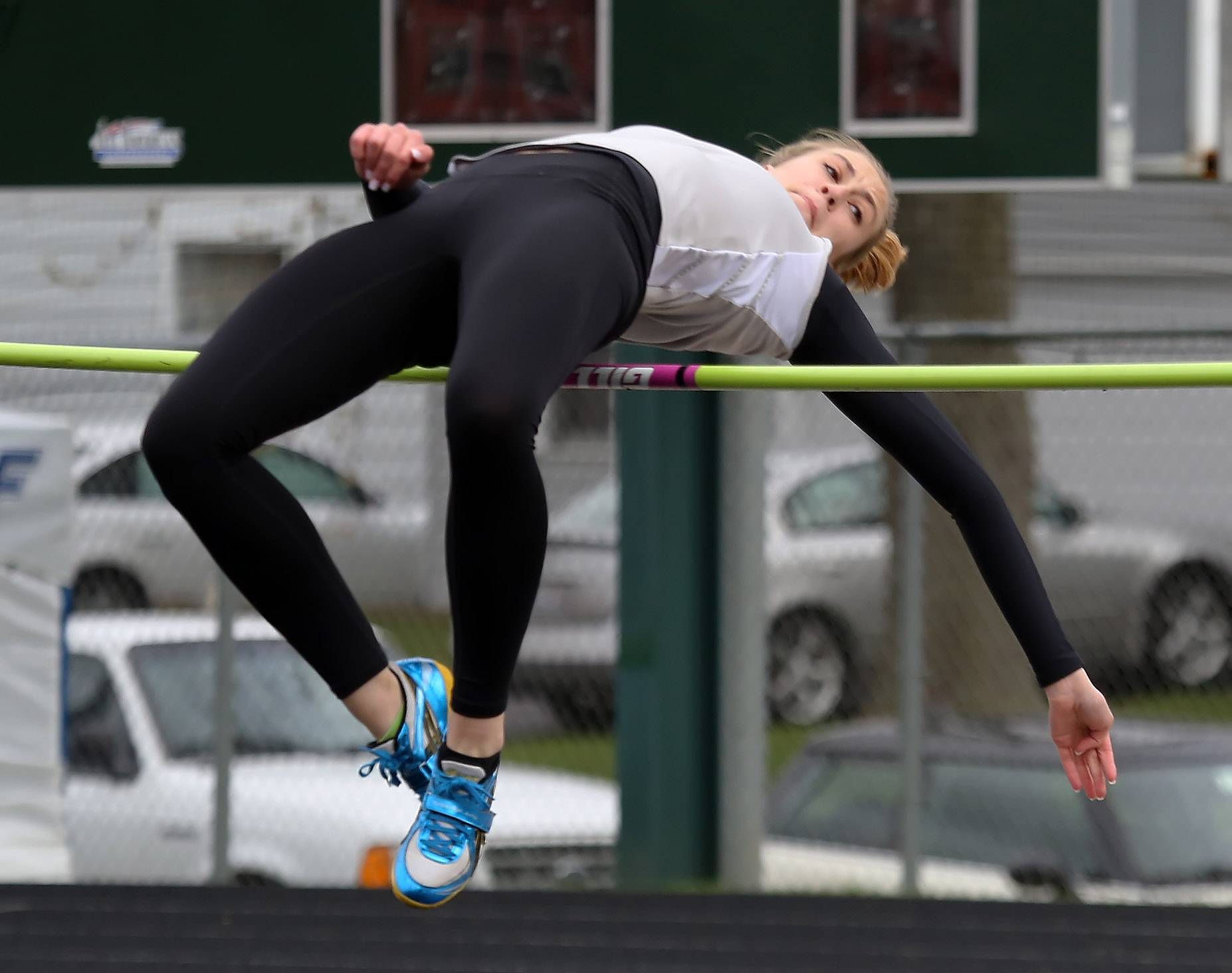Mundelein jumper Katie Stanczykiewicz clears the high jump during the Lake County Invite on Thursday at Grayslake Central.