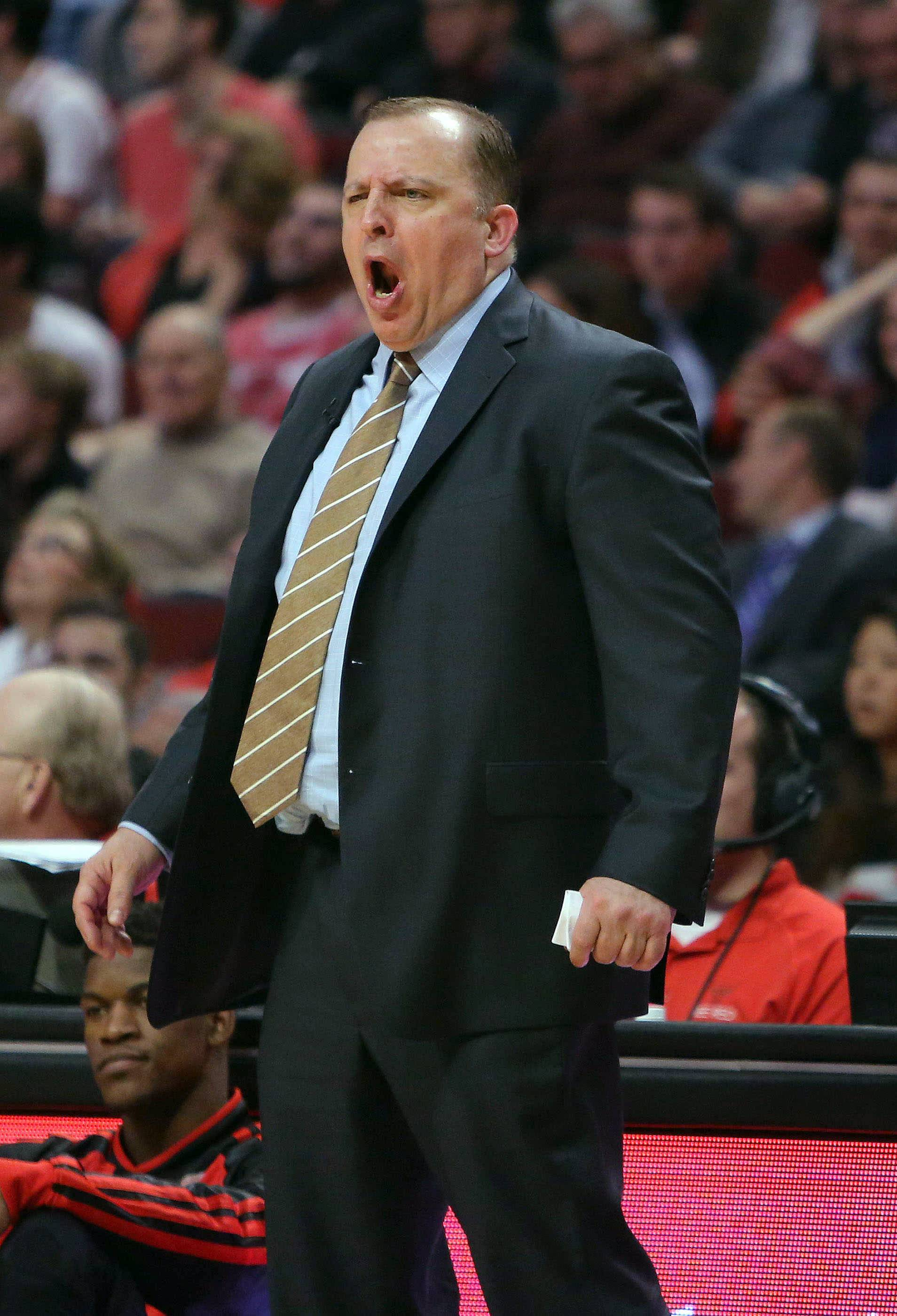Chicago Bulls coach Tom Thibodeau shouts during Game 5 of the Bulls' NBA basketball first-round playoff series against the Washington Wizards, Tuesday, April 29, 2014, in Chicago. The Wizards won 75-69, taking the series. (AP Photo/Daily Herald, Steve Lundy) MANDATORY CREDIT  MAGS OUT