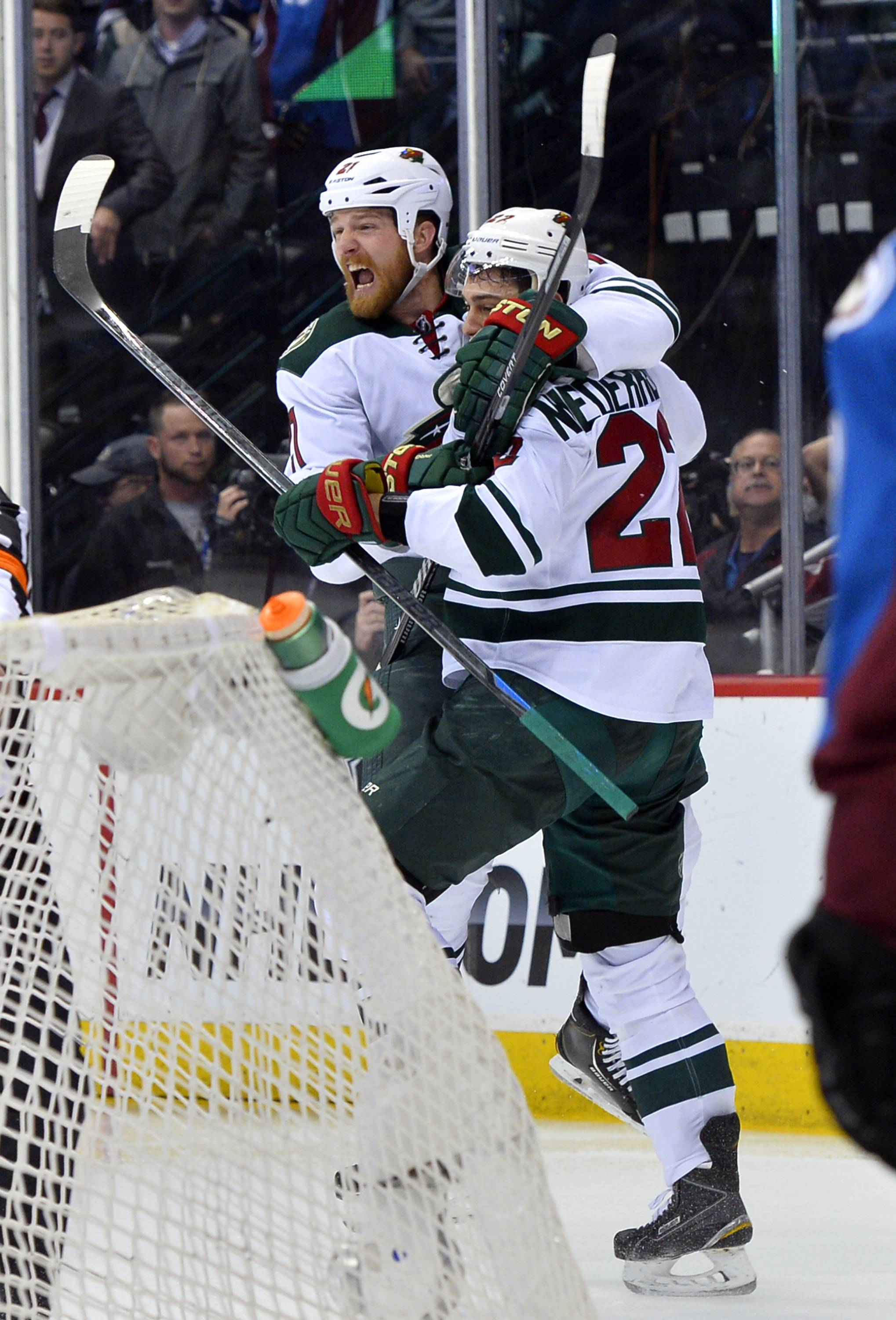 Minnesota's Nino Niederreiter celebrates his game-winning, Game 7 overtime goal against the Avalanche and now it's on to a second-round matching with the Blackhawks that starts tonight.