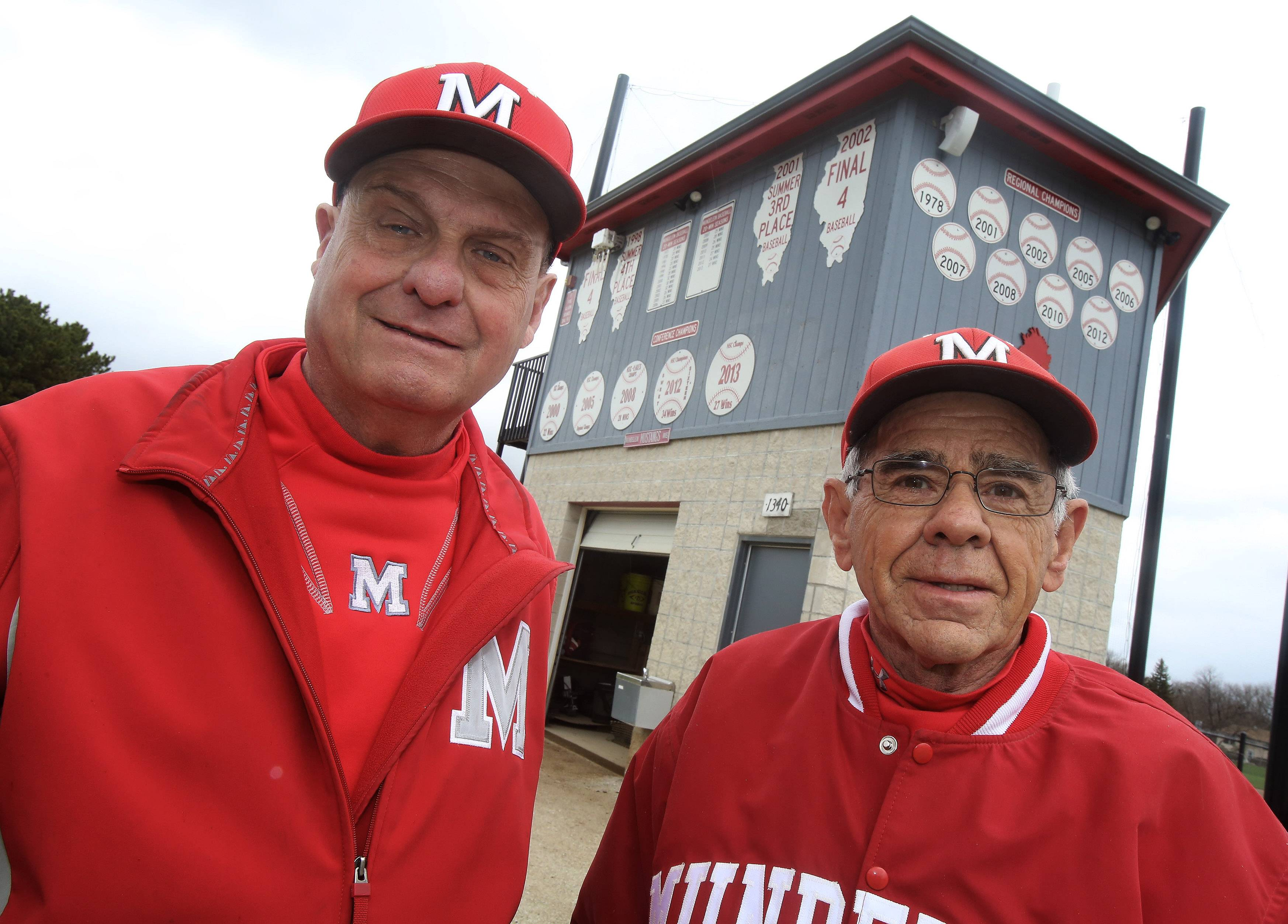 Mundelein assistant baseball coaches Fred Picket, left, and Neil McLoughlin have coached together for more than 45 years. Picket is retiring this year after 45 years, and McLoughlin has coached more than 50 years at the high school.