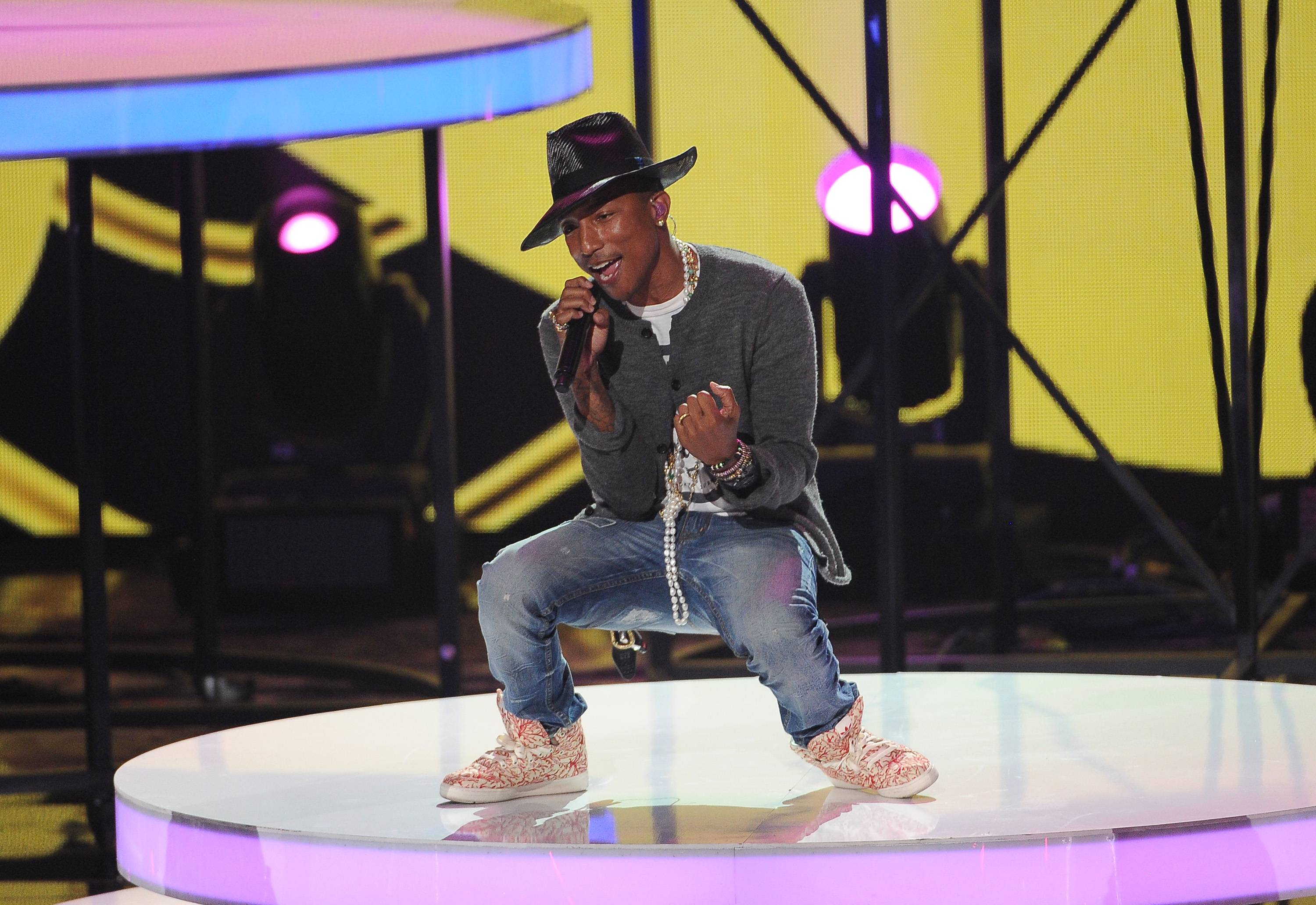 Pharrell Williams, who won the innovator award, performs at the iHeartRadio Music Awards at the Shrine Auditorium on Thursday in Los Angeles.