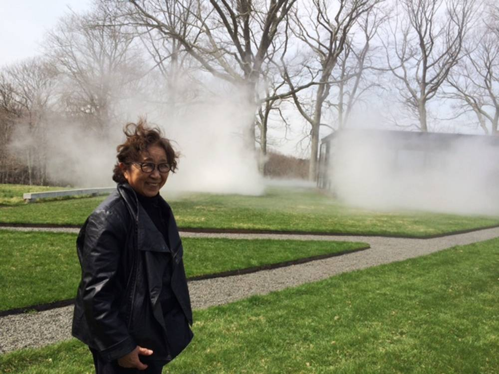 "Japanese artist Fujiko Nakaya, internationally known for her ""fog sculptures,"" has created a new fog installation at the Glass House in New Canaan, Conn."