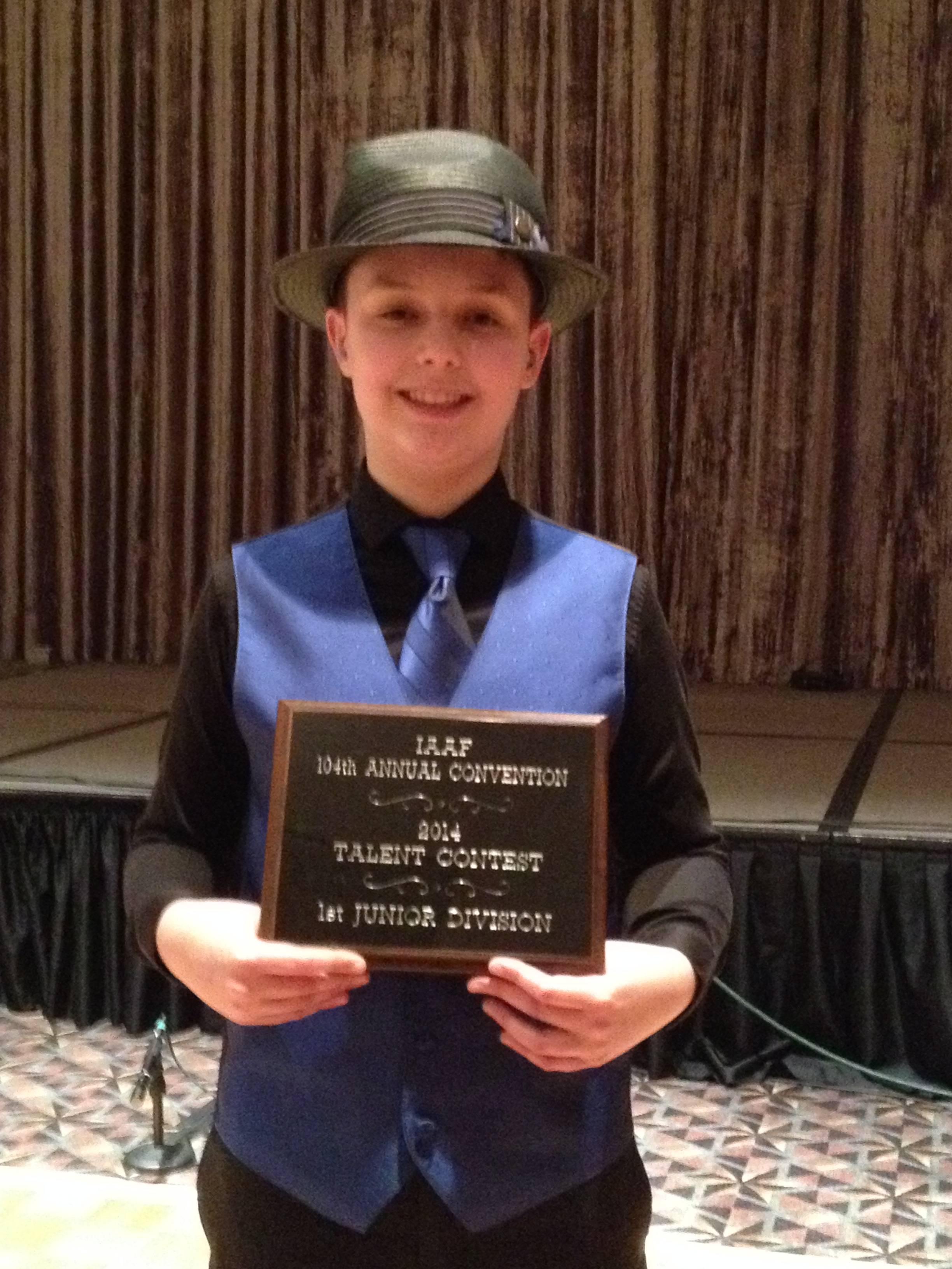 Daniel Souvigny of Hampshire was last year's Junior Division first-place winner at the Kane County Fair Talent Contest, and the state of Illinois first-place champ this past January in Springfield. ion