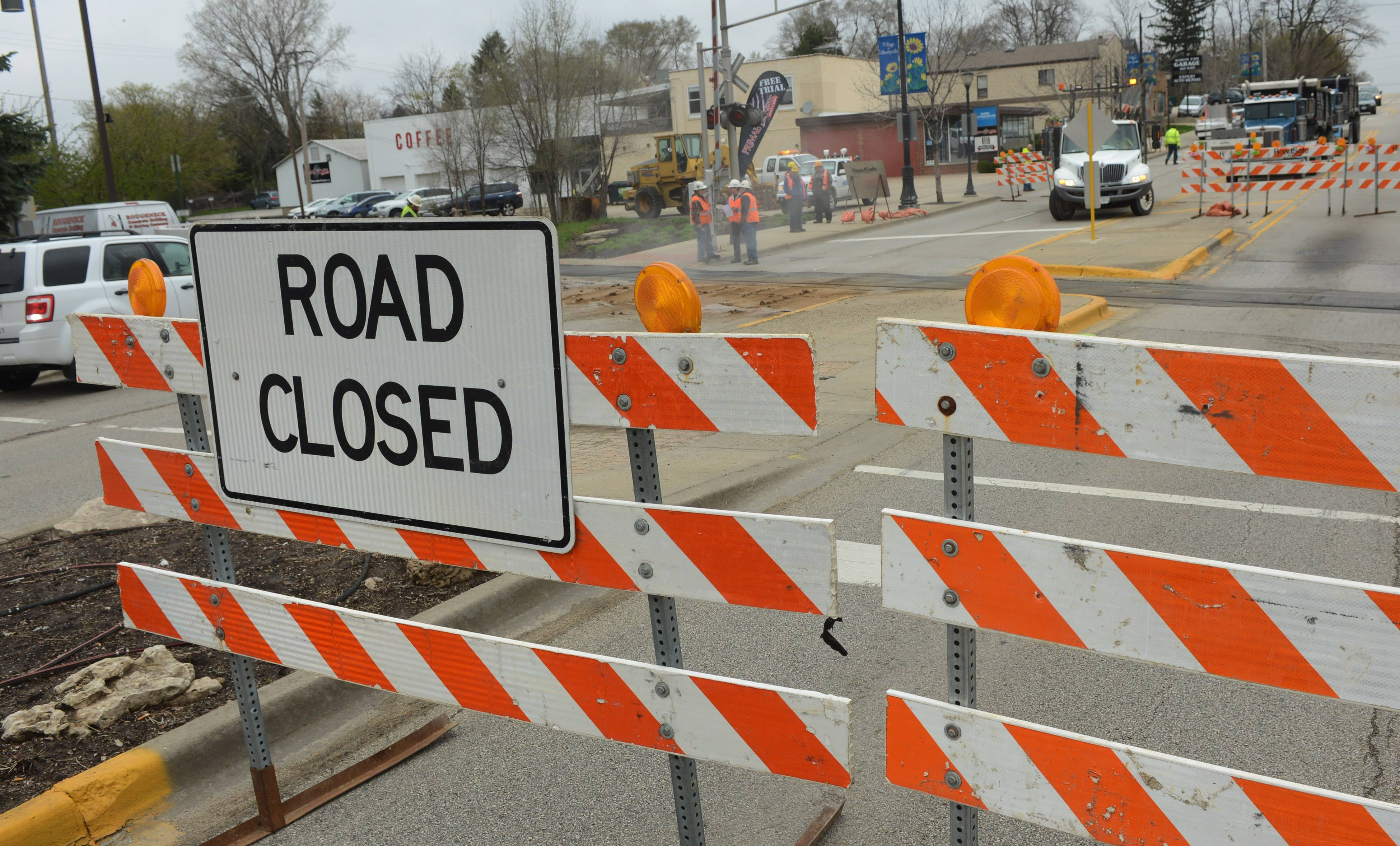 Milwaukee Avenue is closed in downtown Libertyville for emergency rail crossing repair. The project is supposed to take five days.