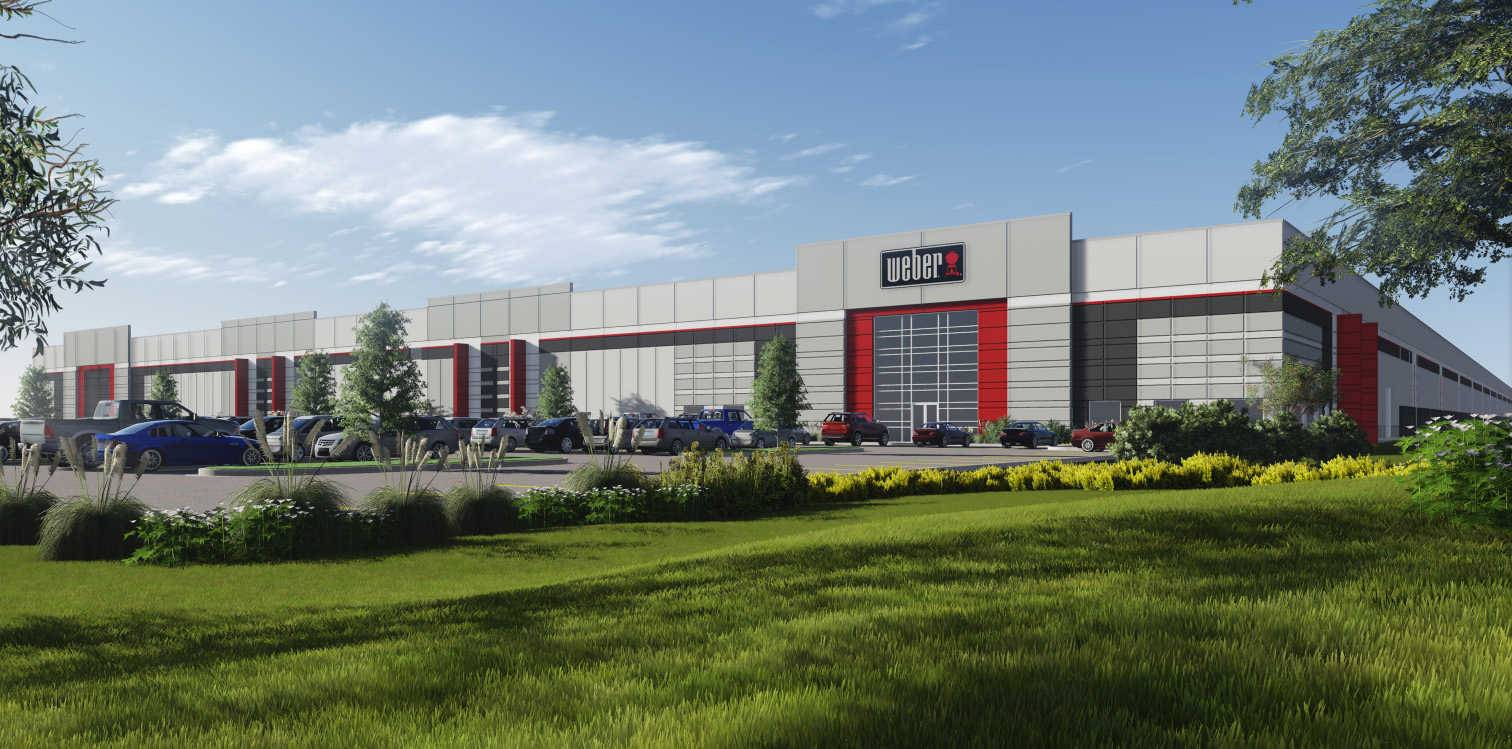An artist's rendering of a proposed 757,120-square-foot Weber grills factory, which would more than double the size of the company's existing building in Huntley and serve as its global distribution headquarters.