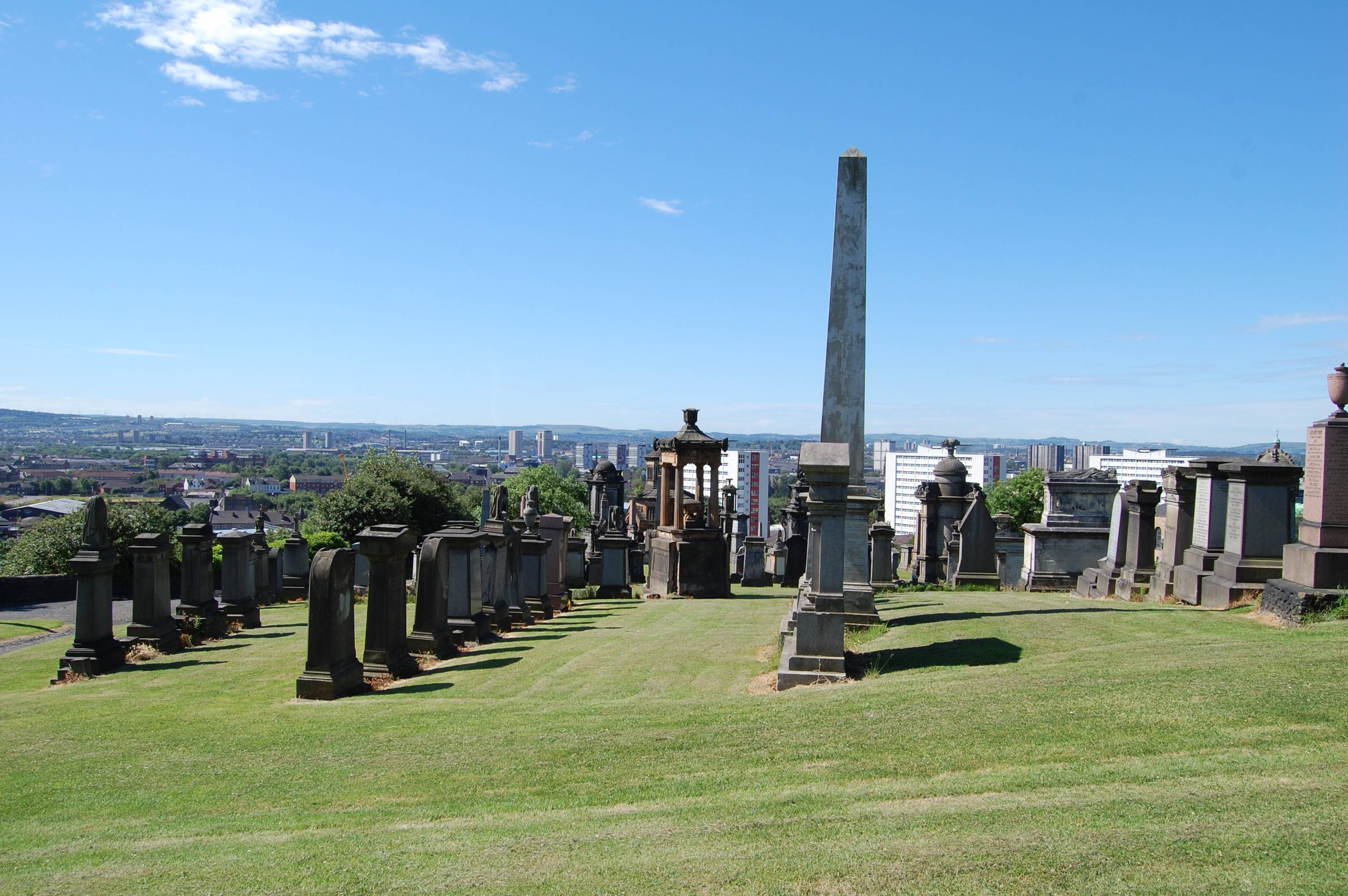 The Necropolis in Glasgow is regarded as one of the most significant cemeteries in Europe. The immense Victorian monument garden of 37 acres provides a stunning elevated view of the city and is the final resting place of more than 50,000 people, many of them notable. Free walking tours are offered.